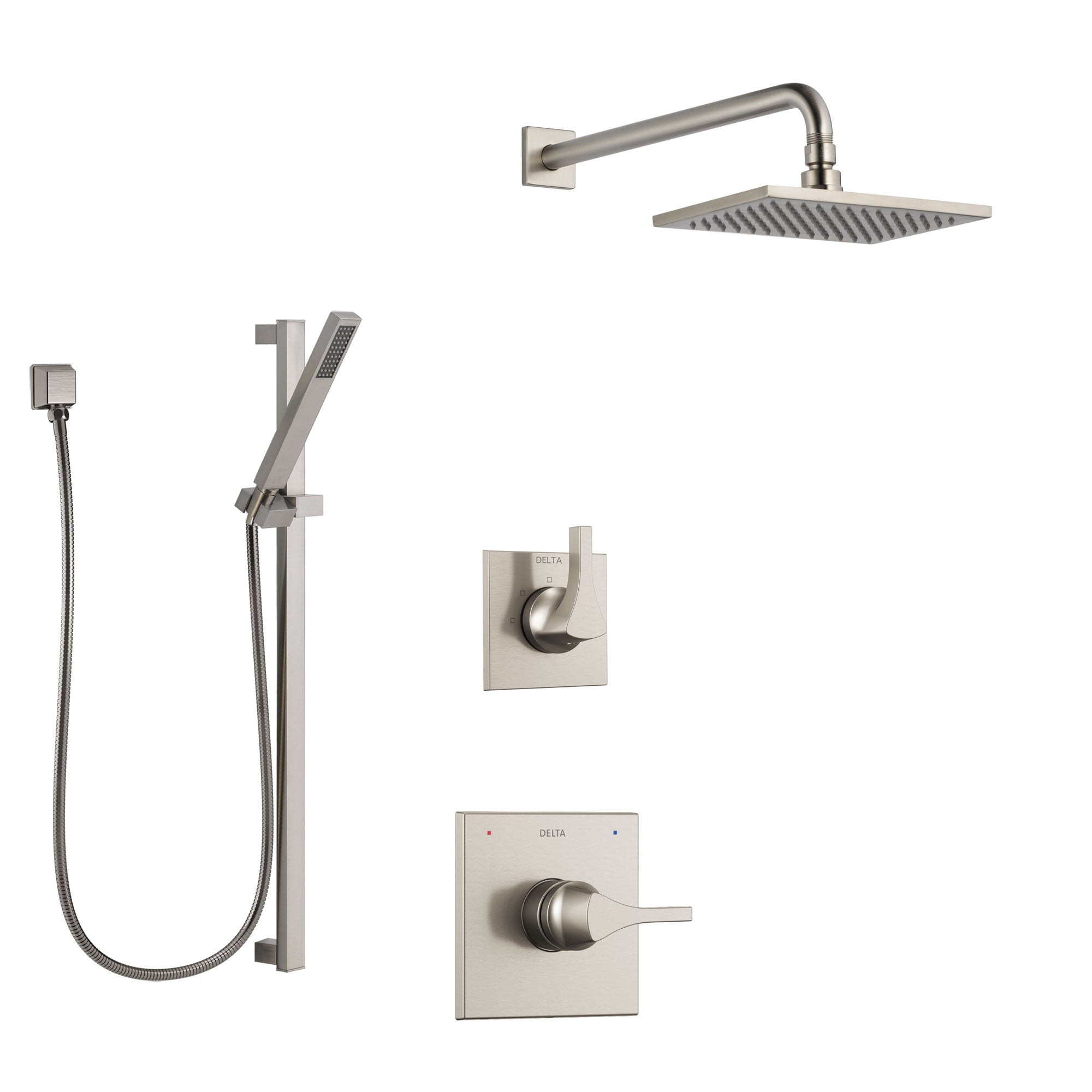 Delta Zura Stainless Steel Finish Shower System with Control Handle, 3-Setting Diverter, Showerhead, and Hand Shower with Slidebar SS1474SS8