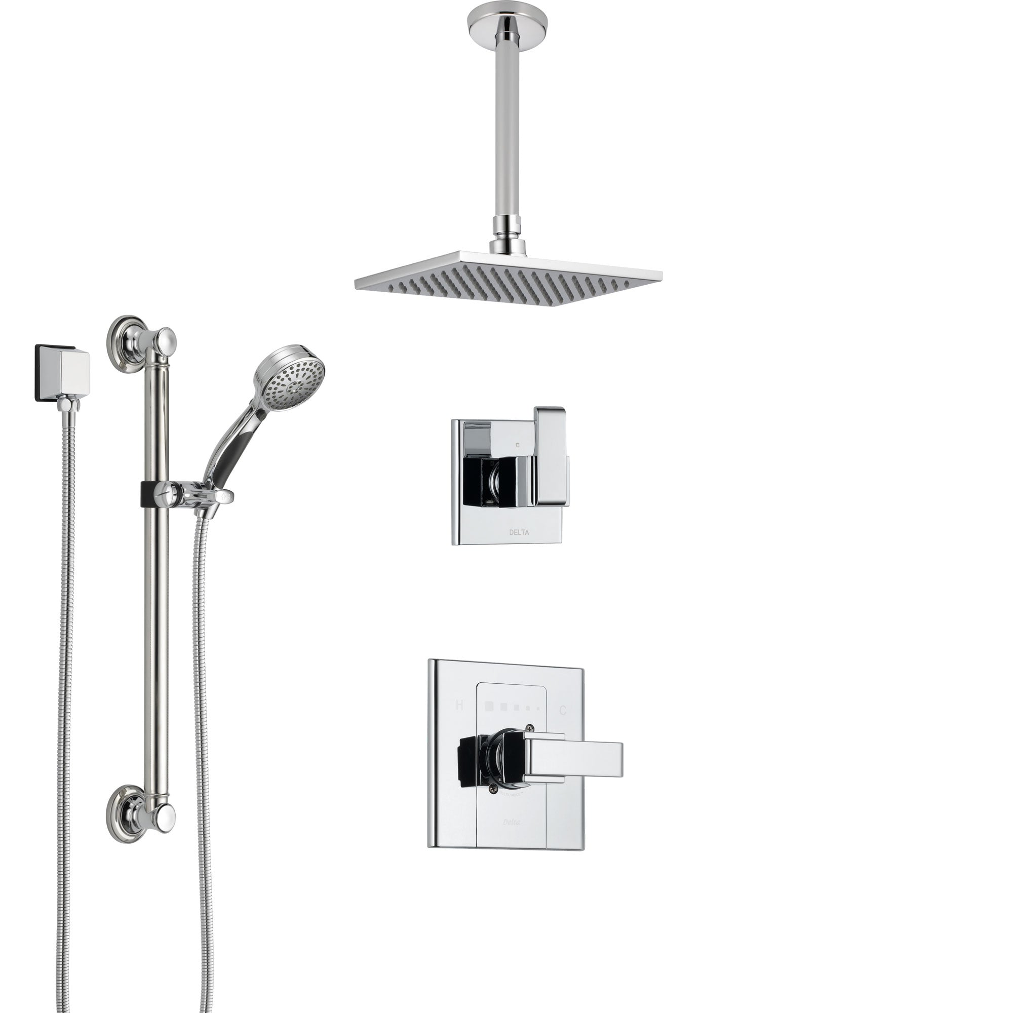 Delta Arzo Chrome Finish Shower System with Control Handle, 3-Setting Diverter, Ceiling Mount Showerhead, and Hand Shower with Grab Bar SS14861