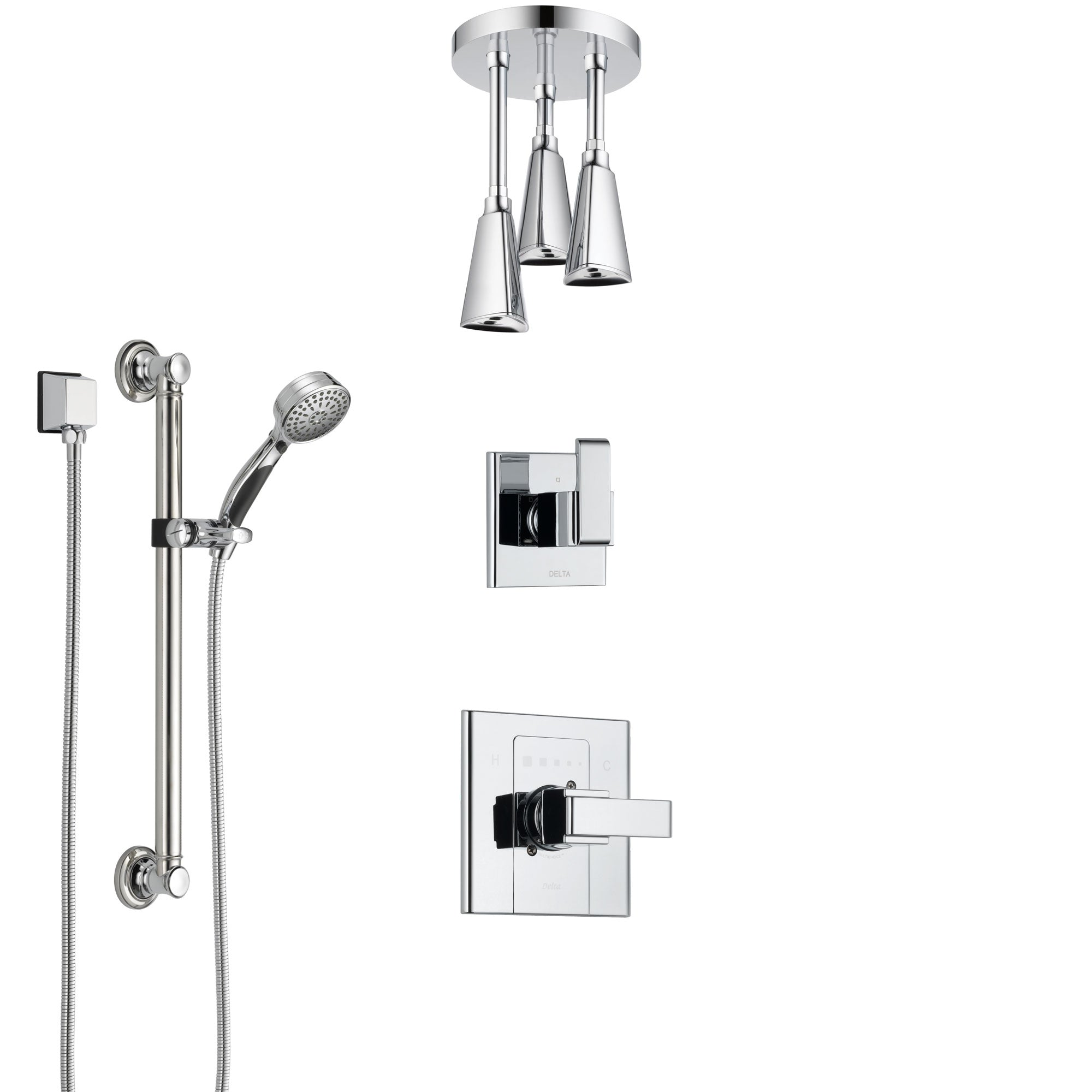 Delta Arzo Chrome Finish Shower System with Control Handle, 3-Setting Diverter, Ceiling Mount Showerhead, and Hand Shower with Grab Bar SS14862