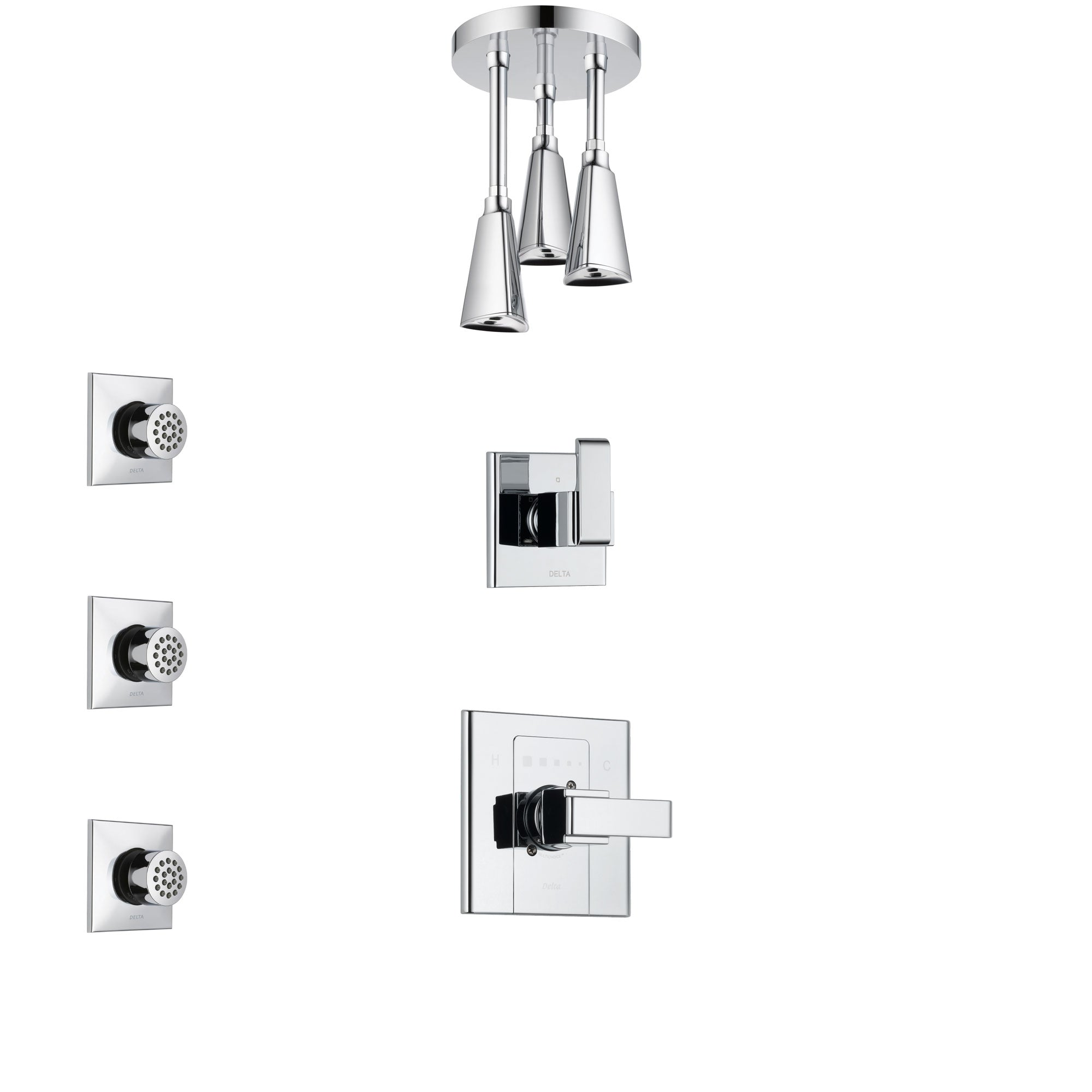 Delta Arzo Chrome Finish Shower System with Control Handle, 3-Setting Diverter, Ceiling Mount Showerhead, and 3 Body Sprays SS14863