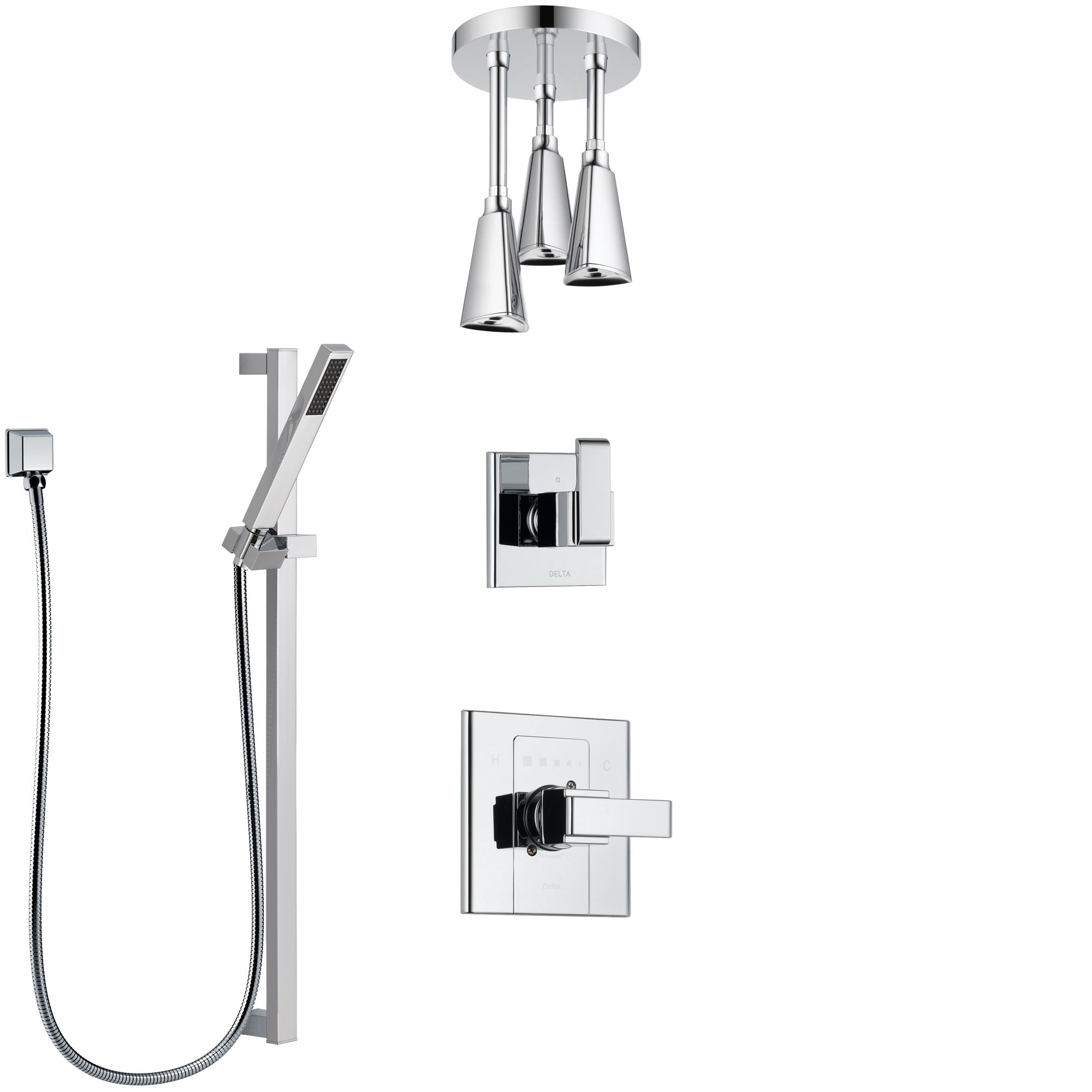 Delta Arzo Chrome Finish Shower System with Control Handle, 3-Setting Diverter, Ceiling Mount Showerhead, and Hand Shower with Slidebar SS14864