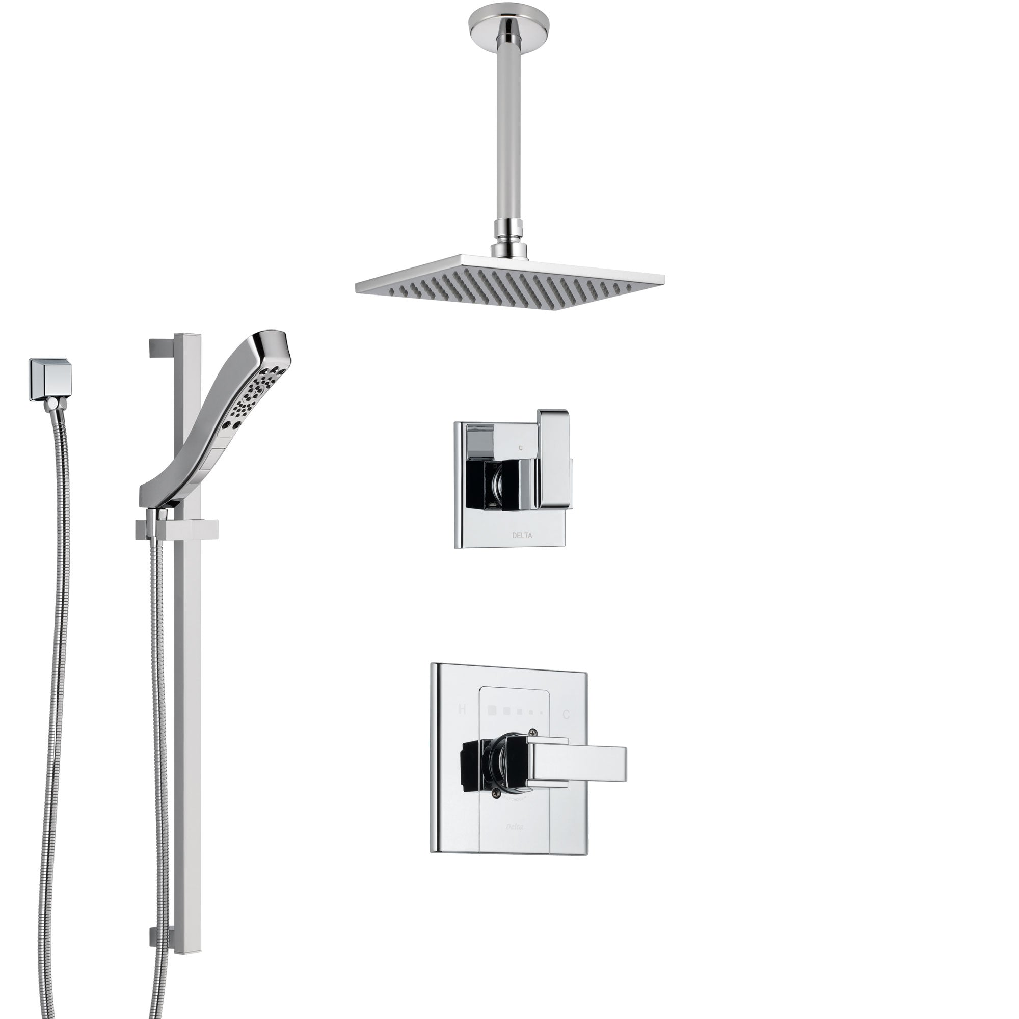Delta Arzo Chrome Finish Shower System with Control Handle, 3-Setting Diverter, Ceiling Mount Showerhead, and Hand Shower with Slidebar SS14865