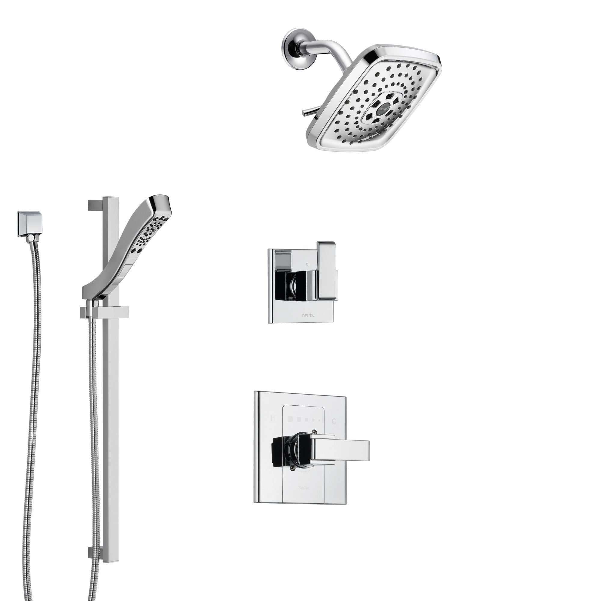 Delta Arzo Chrome Finish Shower System with Control Handle, 3-Setting Diverter, Showerhead, and Hand Shower with Slidebar SS14866