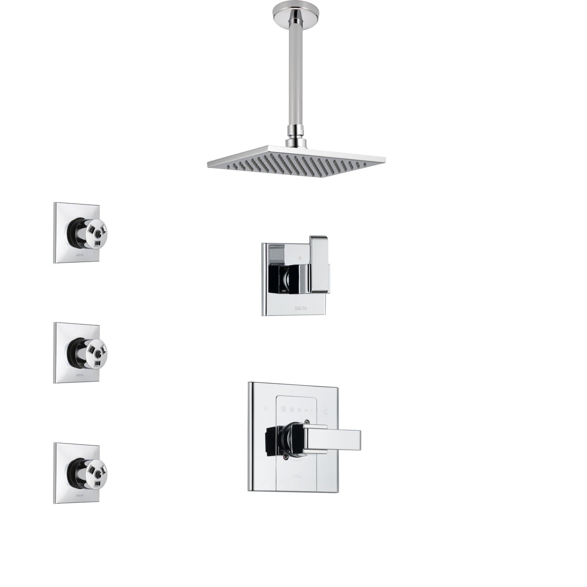 Delta Arzo Chrome Finish Shower System with Control Handle, 3-Setting Diverter, Ceiling Mount Showerhead, and 3 Body Sprays SS14867