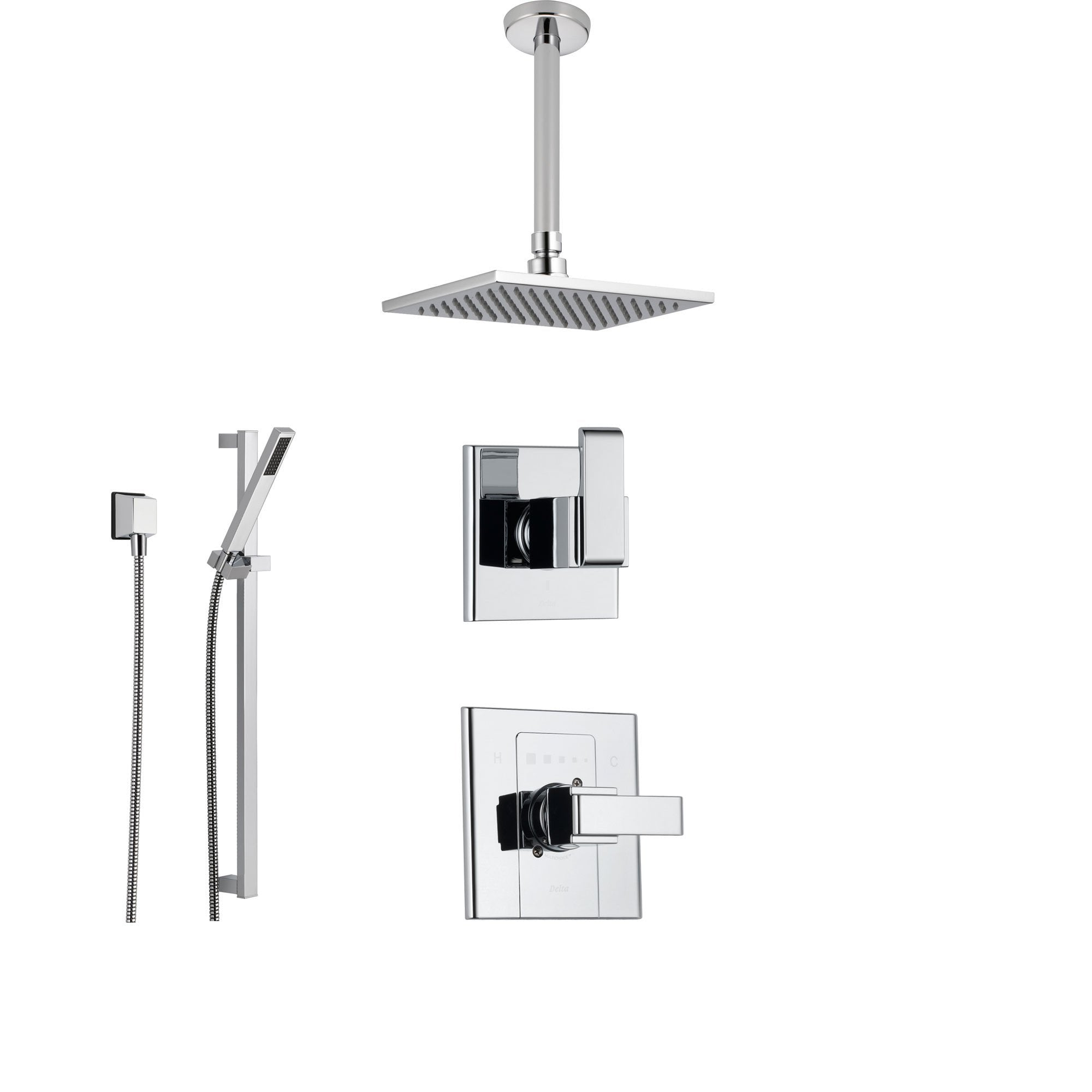 Delta Arzo Chrome Shower System with Normal Shower Handle, 3-setting Diverter, Large Square Rain Showerhead, and Hand Held Shower SS148681