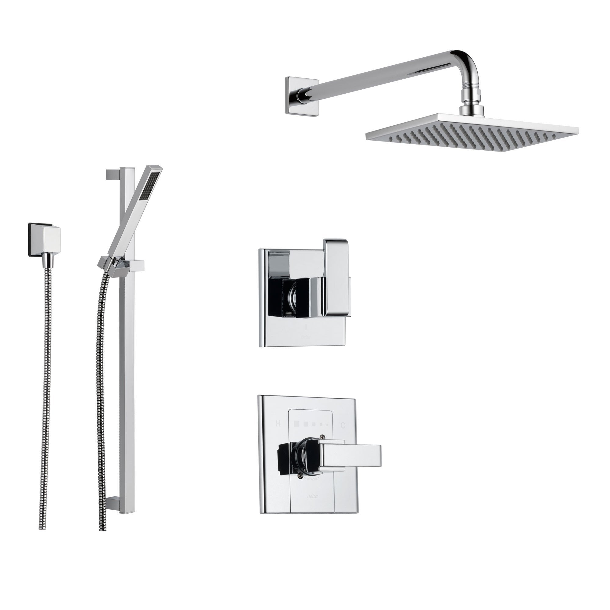 Delta Arzo Chrome Shower System with Normal Shower Handle, 3-setting Diverter, Large Square Rain Showerhead, and Handheld Shower SS148682