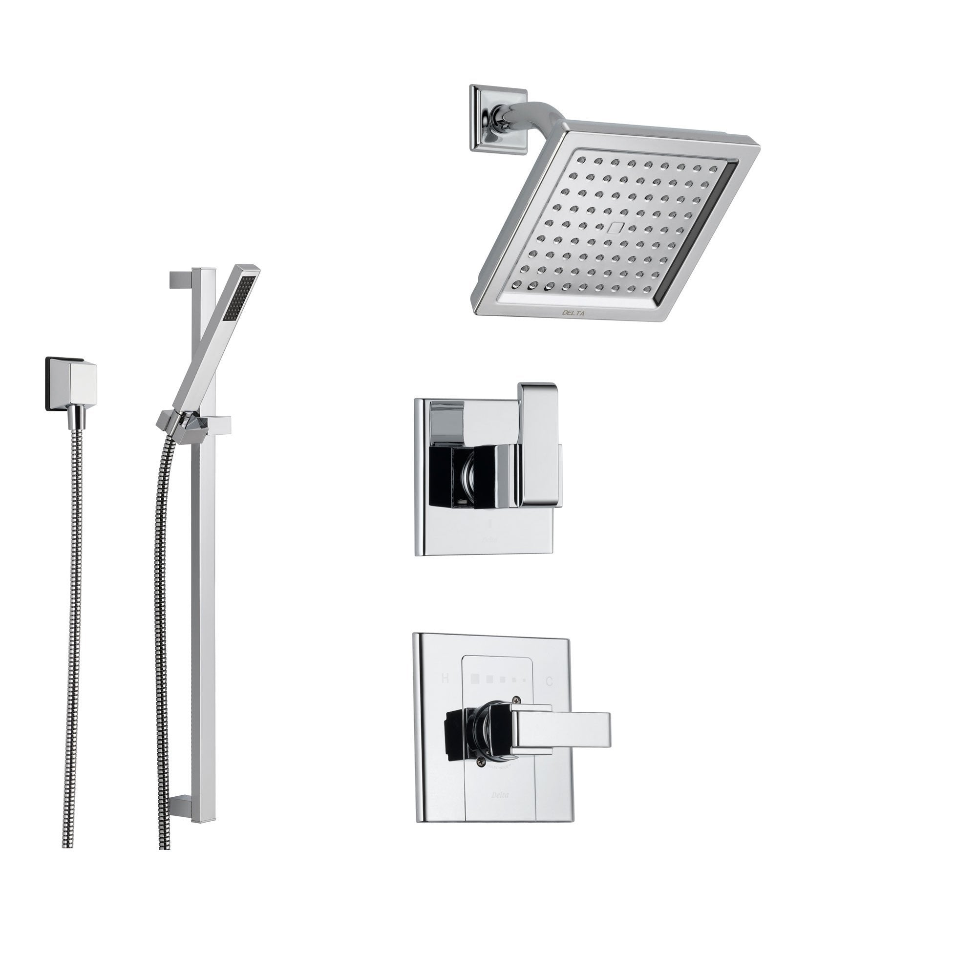 Merveilleux Delta Arzo Chrome Shower System With Normal Shower Handle, 3 Setting  Diverter, Modern