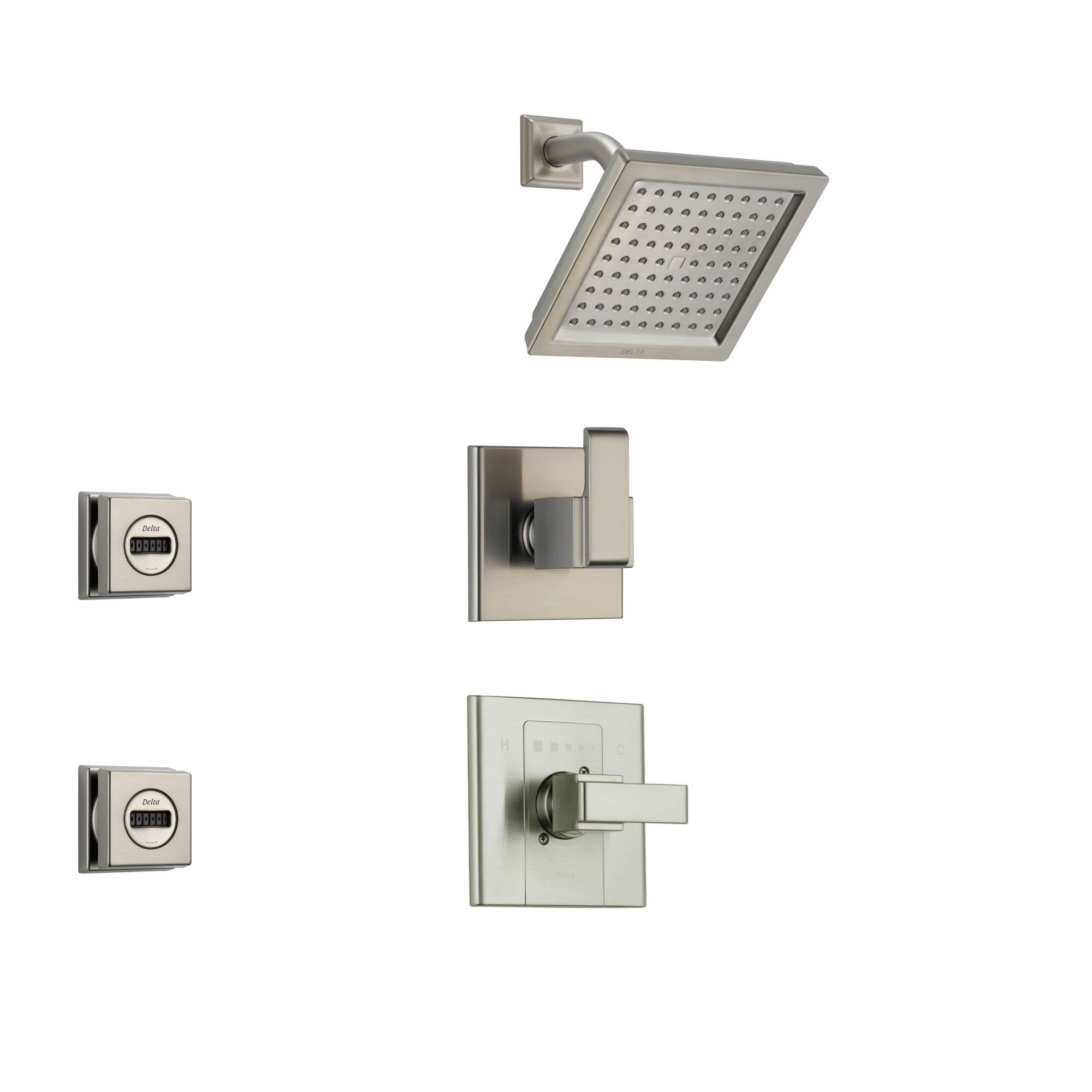 Delta Arzo Stainless Steel Shower System with Normal Shower Handle, 3-setting Diverter, Modern Square Shower Head and 2 Body Sprays SS148685SS