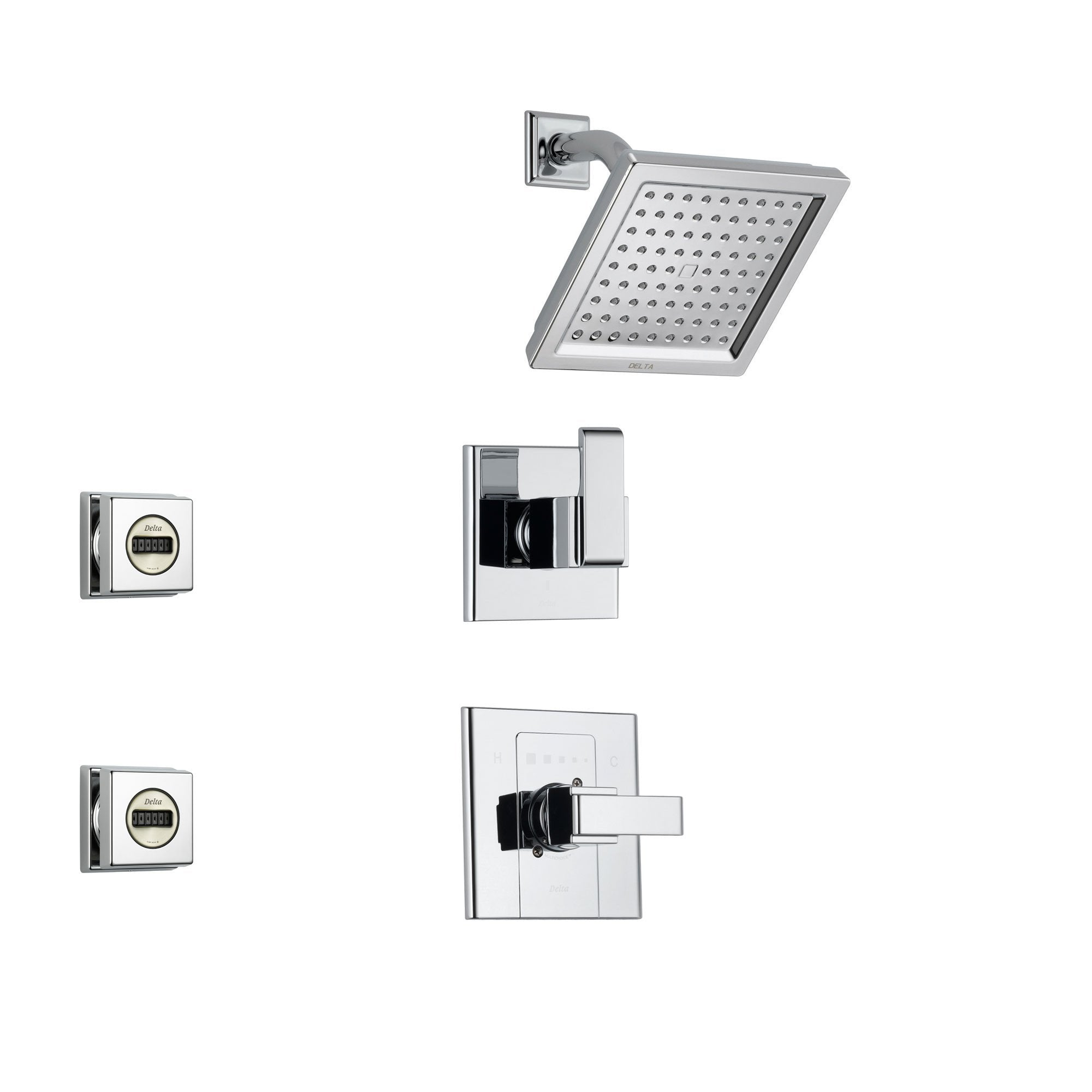 Delta Arzo Chrome Shower System with Normal Shower Handle, 3-setting Diverter, Modern Square Showerhead, and 2 Body Sprays SS148685