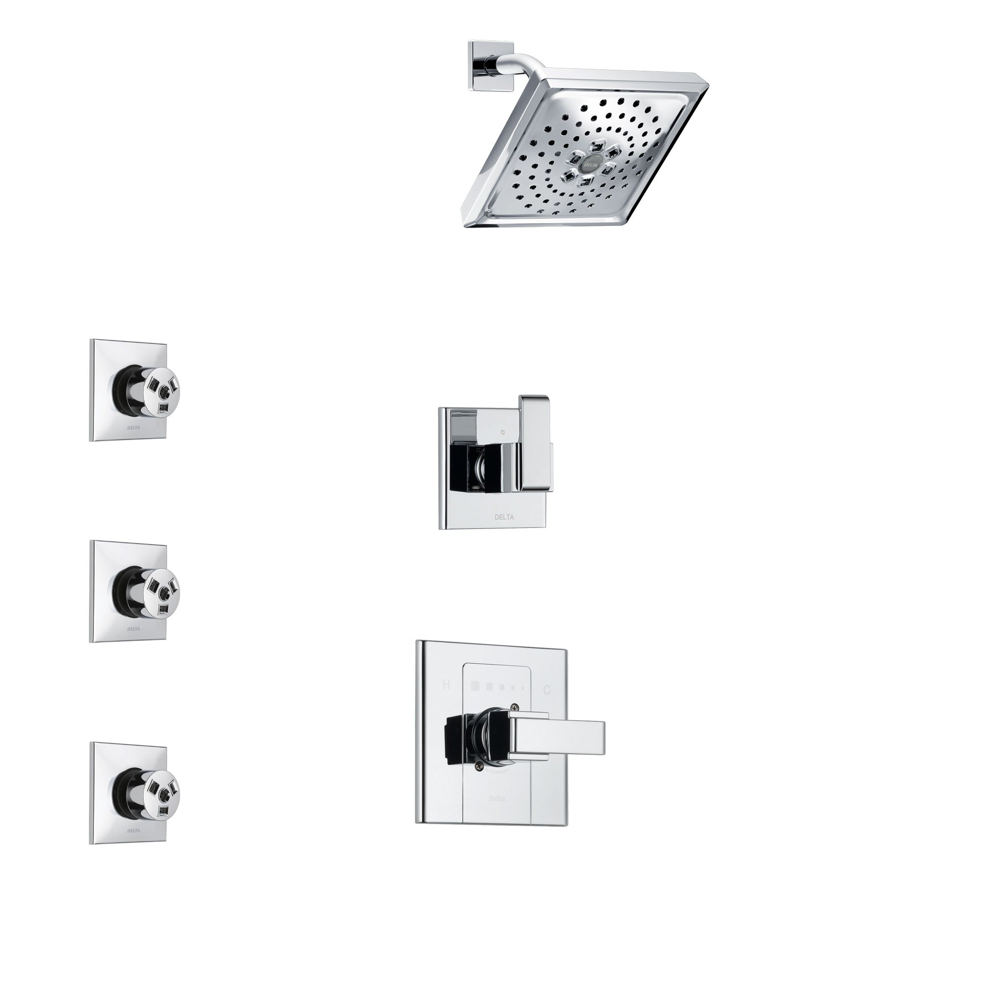 Delta Arzo Chrome Finish Shower System with Control Handle, 3-Setting Diverter, Showerhead, and 3 Body Sprays SS14868