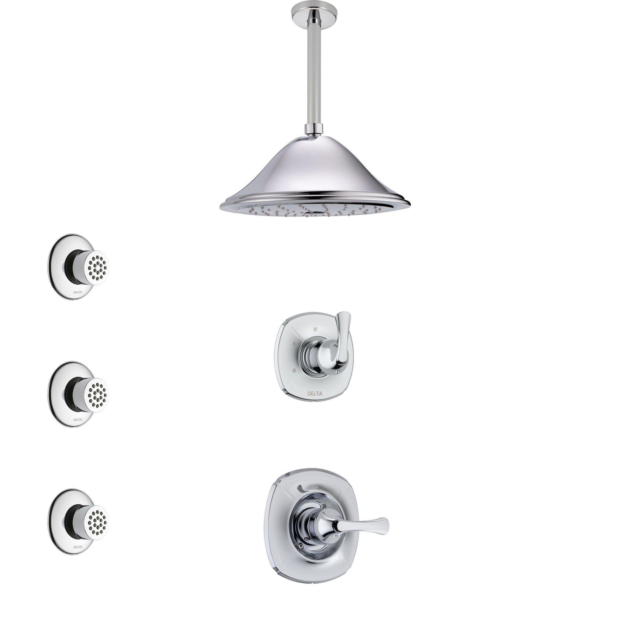 Delta Addison Chrome Finish Shower System with Control Handle, 3-Setting Diverter, Ceiling Mount Showerhead, and 3 Body Sprays SS14923