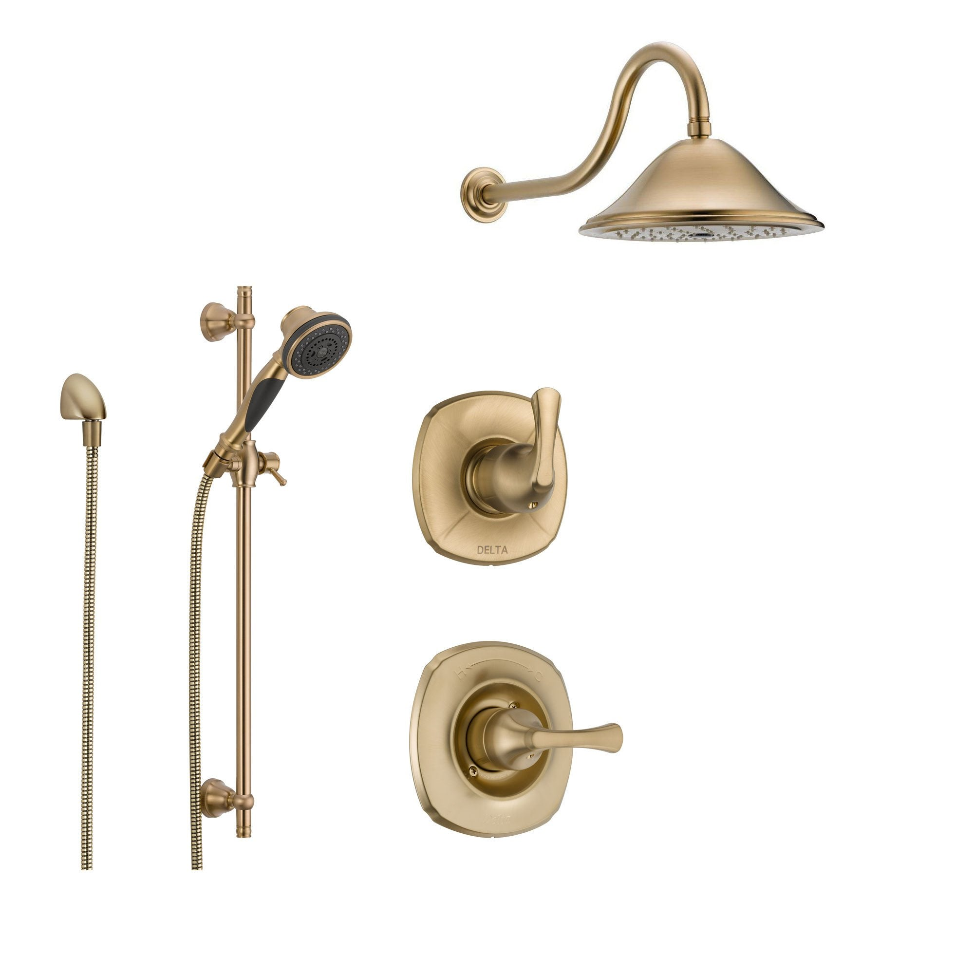 delta addison champagne bronze shower system with normal shower handle 3setting diverter