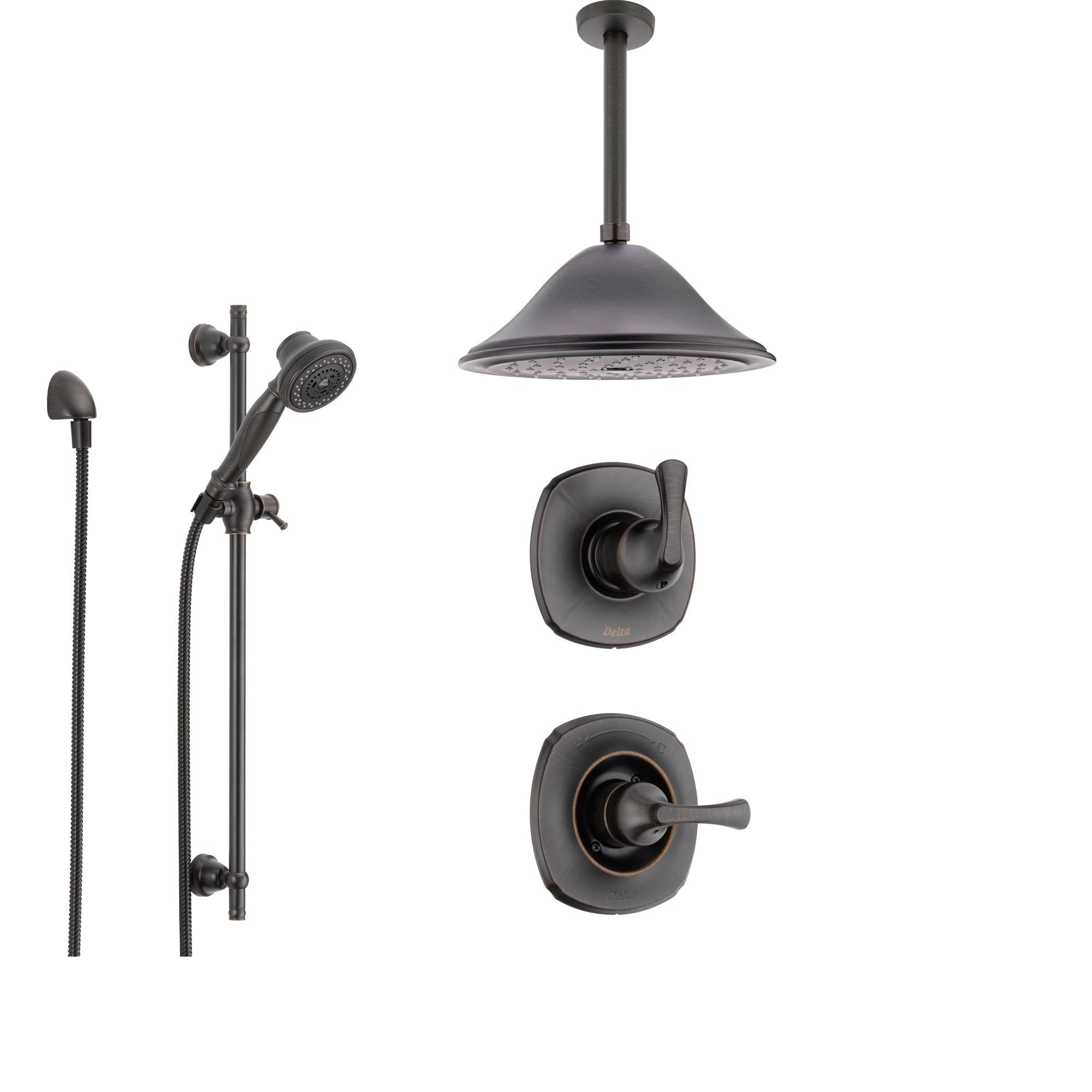 Delta Addison Venetian Bronze Shower System with Normal Shower Handle, 3-setting Diverter, Large Ceiling Mount Rain Shower Head, and Handheld Shower SS149282RB