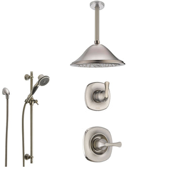 Delta Addison Stainless Steel Shower System with Normal Shower Handle, 3-setting Diverter, Large Ceiling Mount Rain Showerhead, and Handheld Shower SS149282SS
