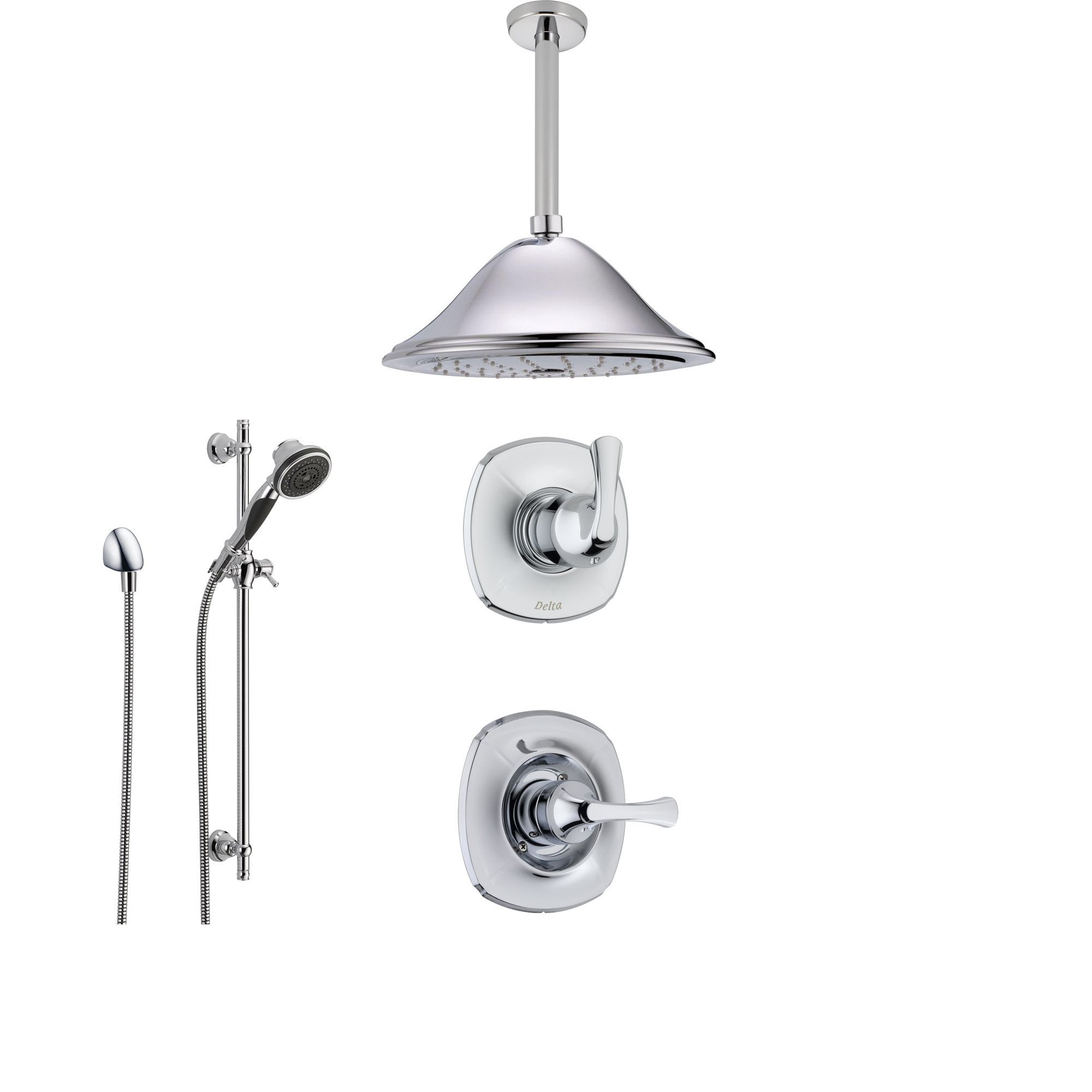 Delta Addison Chrome Shower System with Normal Shower Handle, 3-setting Diverter, Large Ceiling Mount Showerhead, and Handheld Shower SS149282
