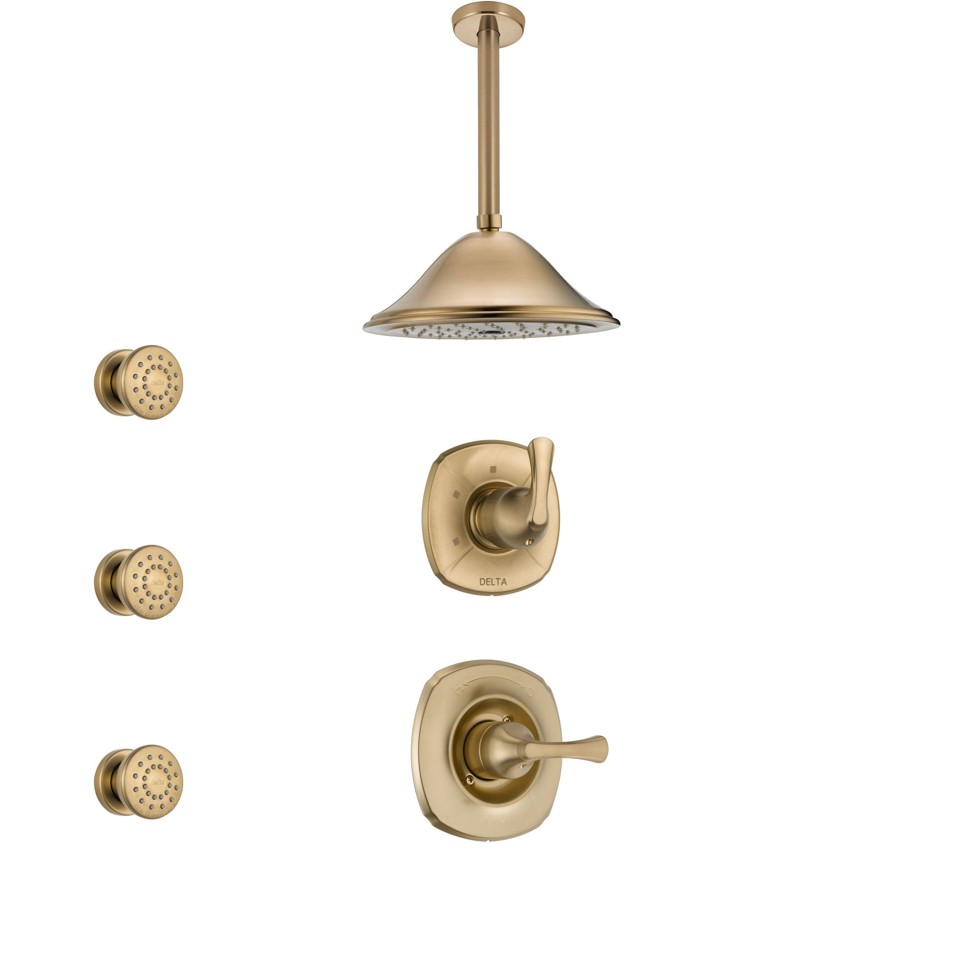 Delta Addison Champagne Bronze Finish Shower System with Control Handle, 3-Setting Diverter, Ceiling Mount Showerhead, and 3 Body Sprays SS1492CZ2