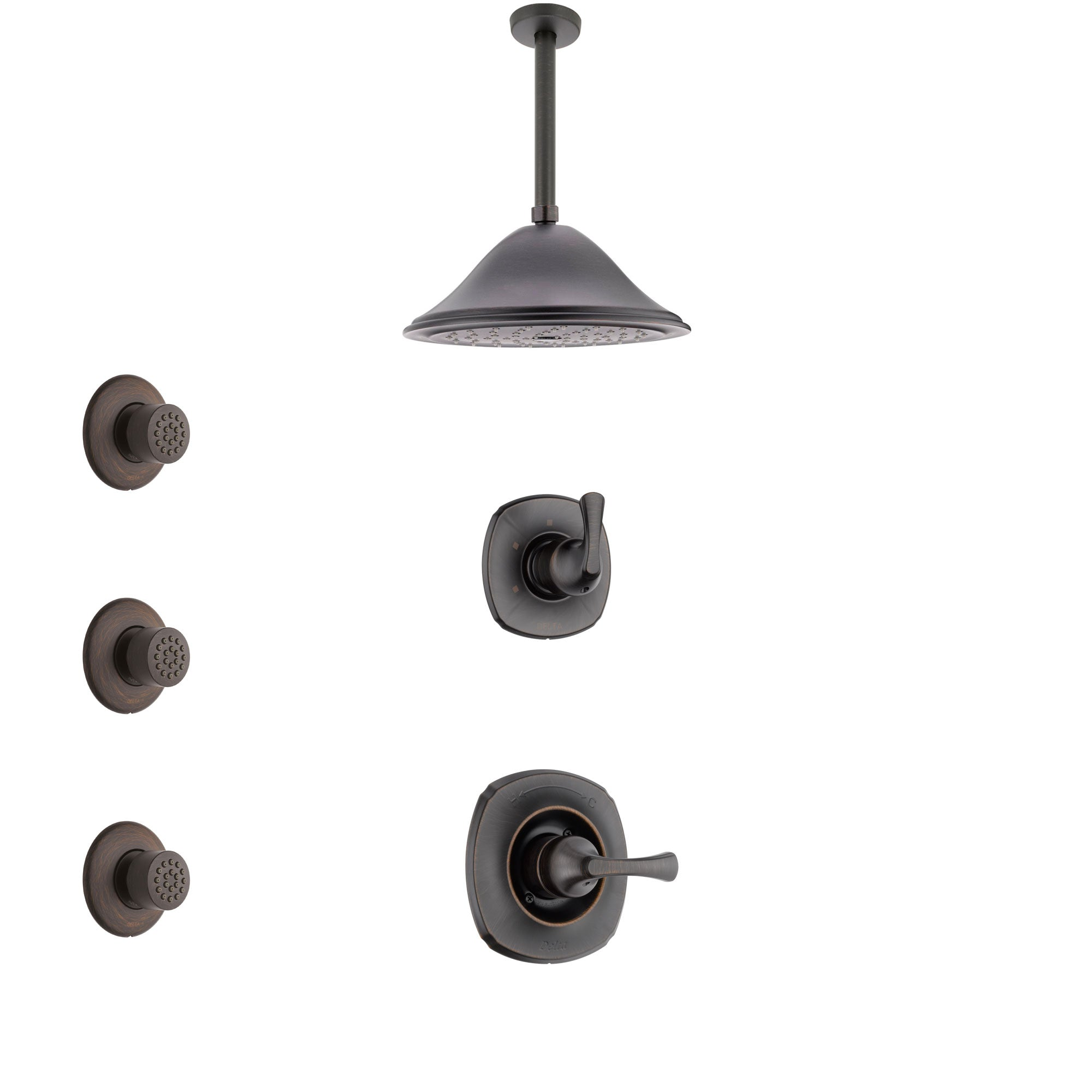 Delta Addison Venetian Bronze Finish Shower System with Control Handle, 3-Setting Diverter, Ceiling Mount Showerhead, and 3 Body Sprays SS1492RB3