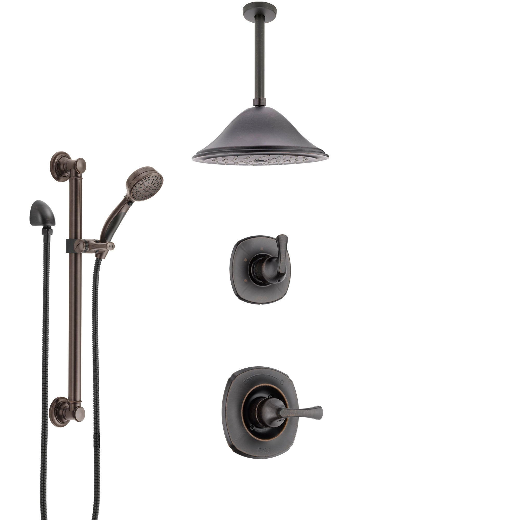 Delta Addison Venetian Bronze Shower System with Control Handle, 3-Setting Diverter, Ceiling Mount Showerhead, and Hand Shower with Grab Bar SS1492RB4