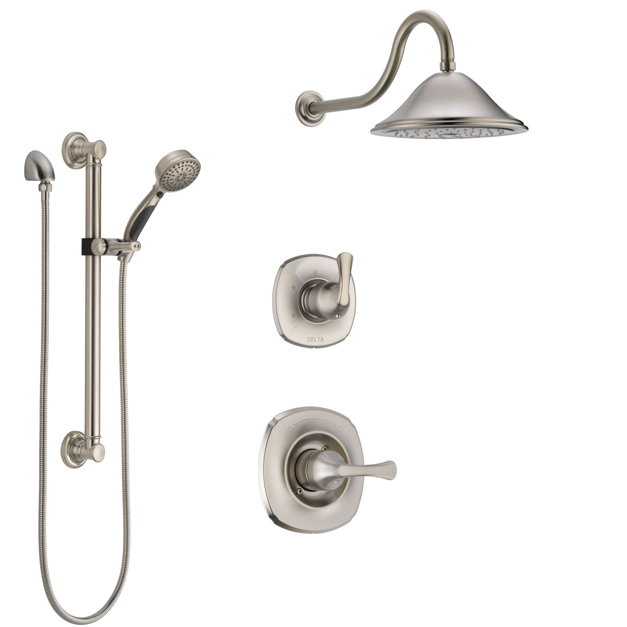 Delta Addison Stainless Steel Finish Shower System with Control Handle, 3-Setting Diverter, Showerhead, and Hand Shower with Grab Bar SS1492SS2