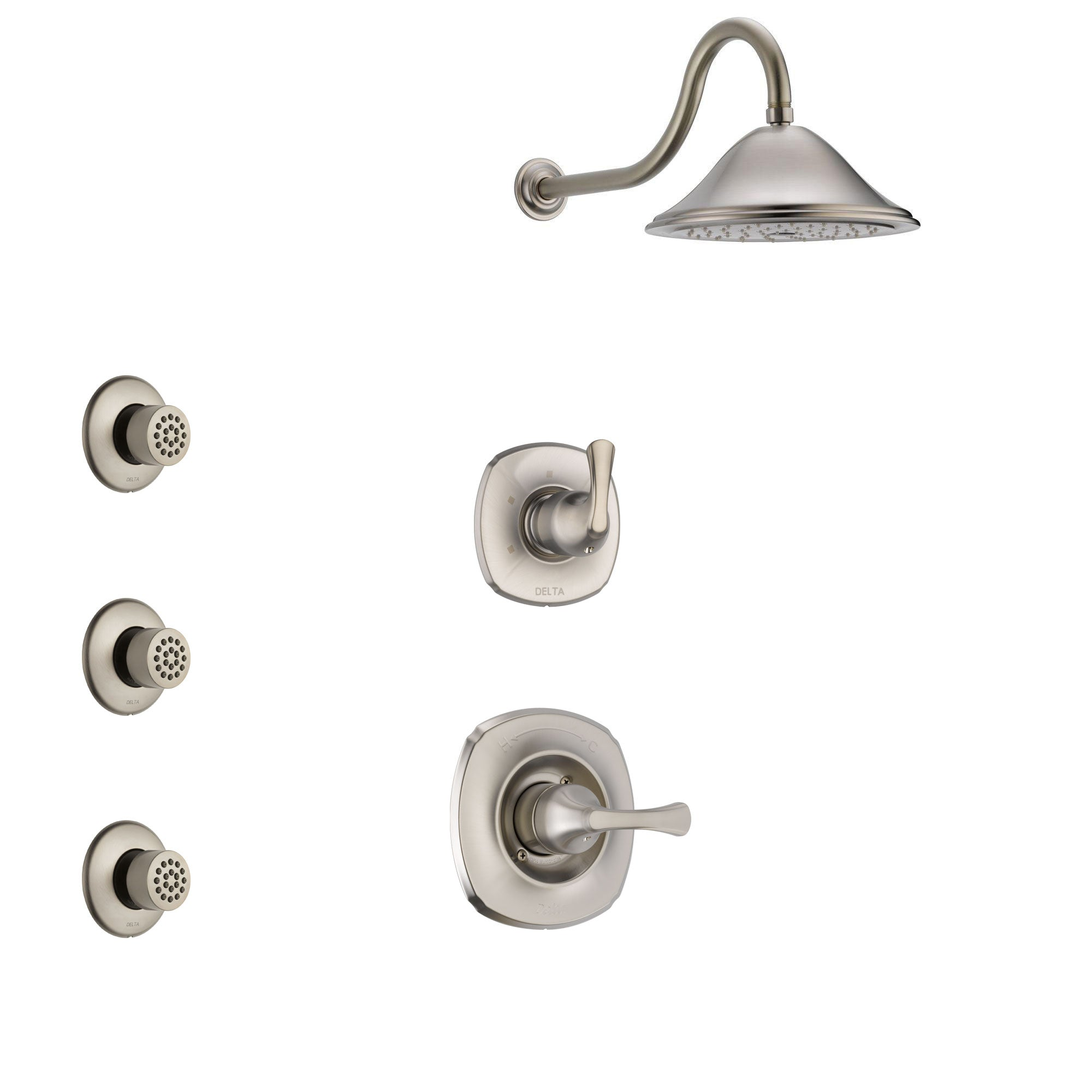 Delta Addison Stainless Steel Finish Shower System with Control Handle, 3-Setting Diverter, Showerhead, and 3 Body Sprays SS1492SS3