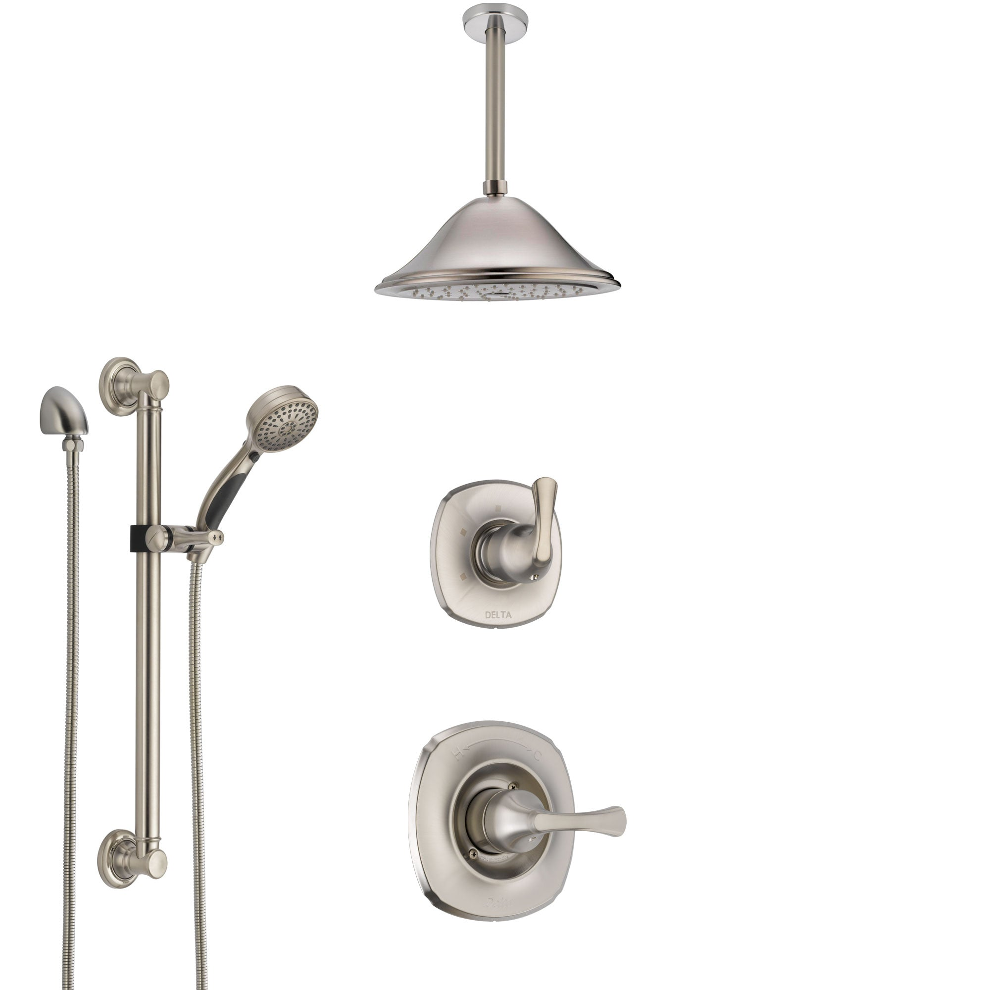Delta Addison Stainless Steel Finish Shower System with Control Handle, Diverter, Ceiling Mount Showerhead, and Hand Shower with Grab Bar SS1492SS8