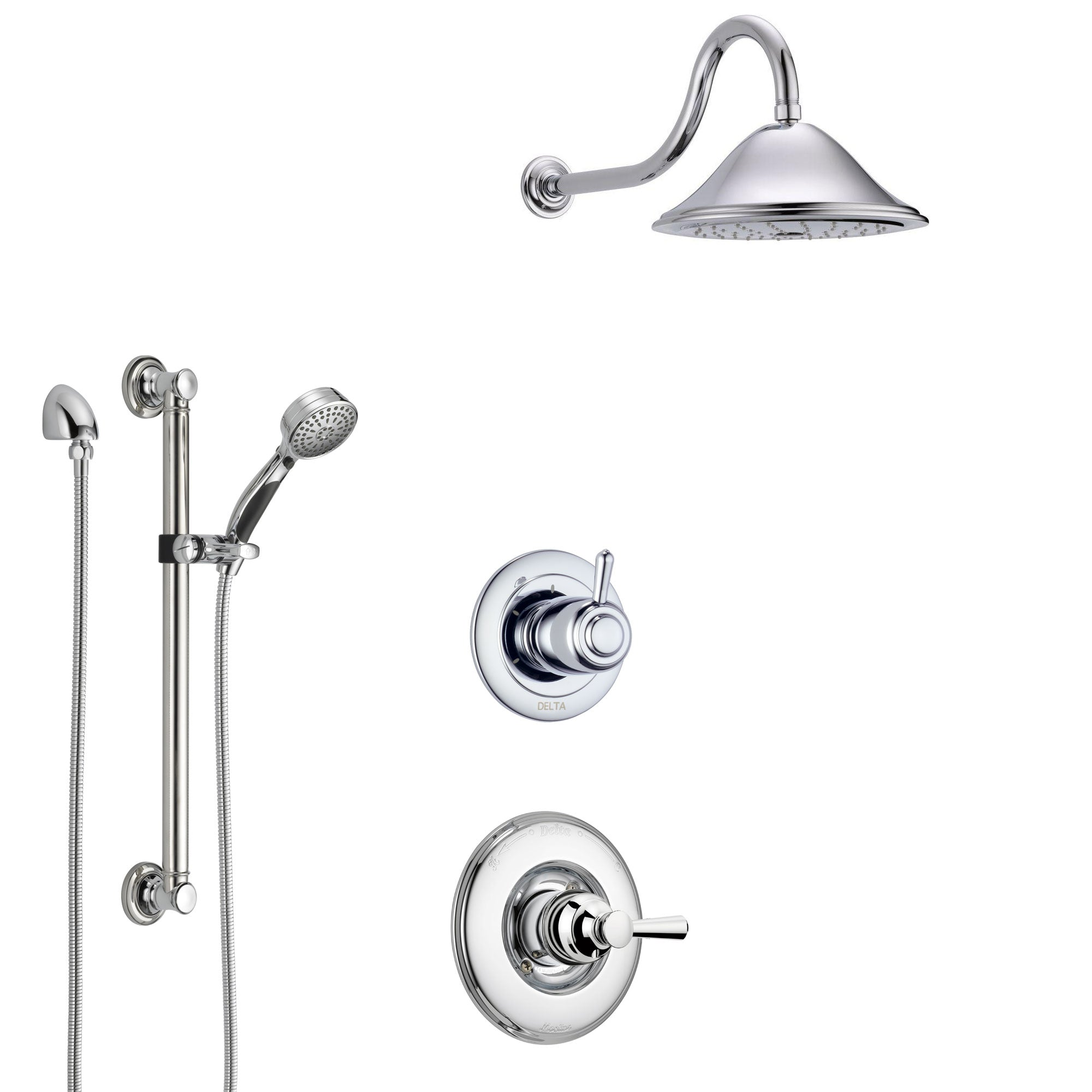 Delta Linden Chrome Finish Shower System with Control Handle, 3-Setting Diverter, Showerhead, and Hand Shower with Grab Bar SS14933