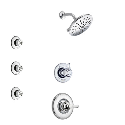 Delta Linden Chrome Finish Shower System with Control Handle, 3-Setting Diverter, Showerhead, and 3 Body Sprays SS14935