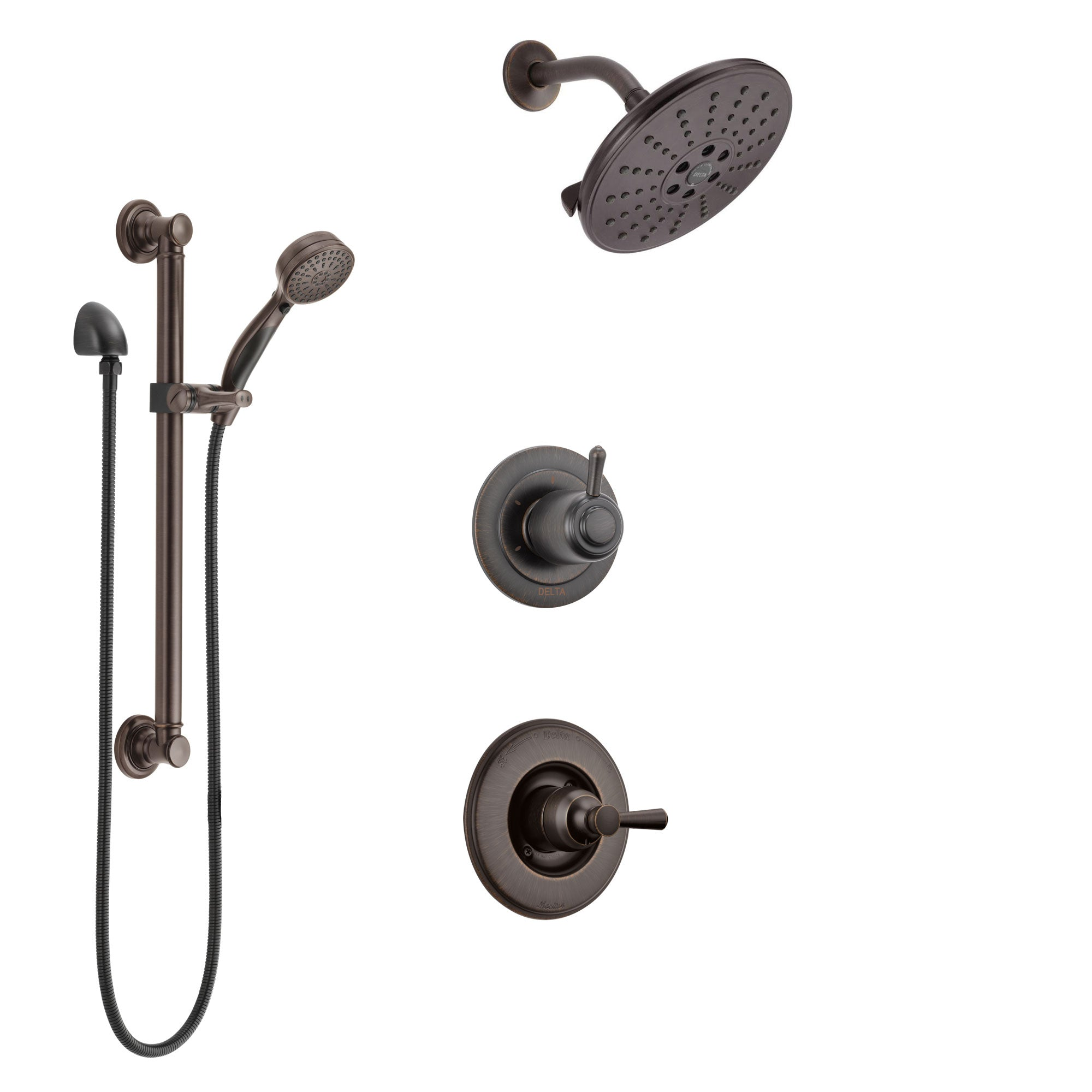 Delta Linden Venetian Bronze Finish Shower System with Control Handle, 3-Setting Diverter, Showerhead, and Hand Shower with Grab Bar SS1493RB5