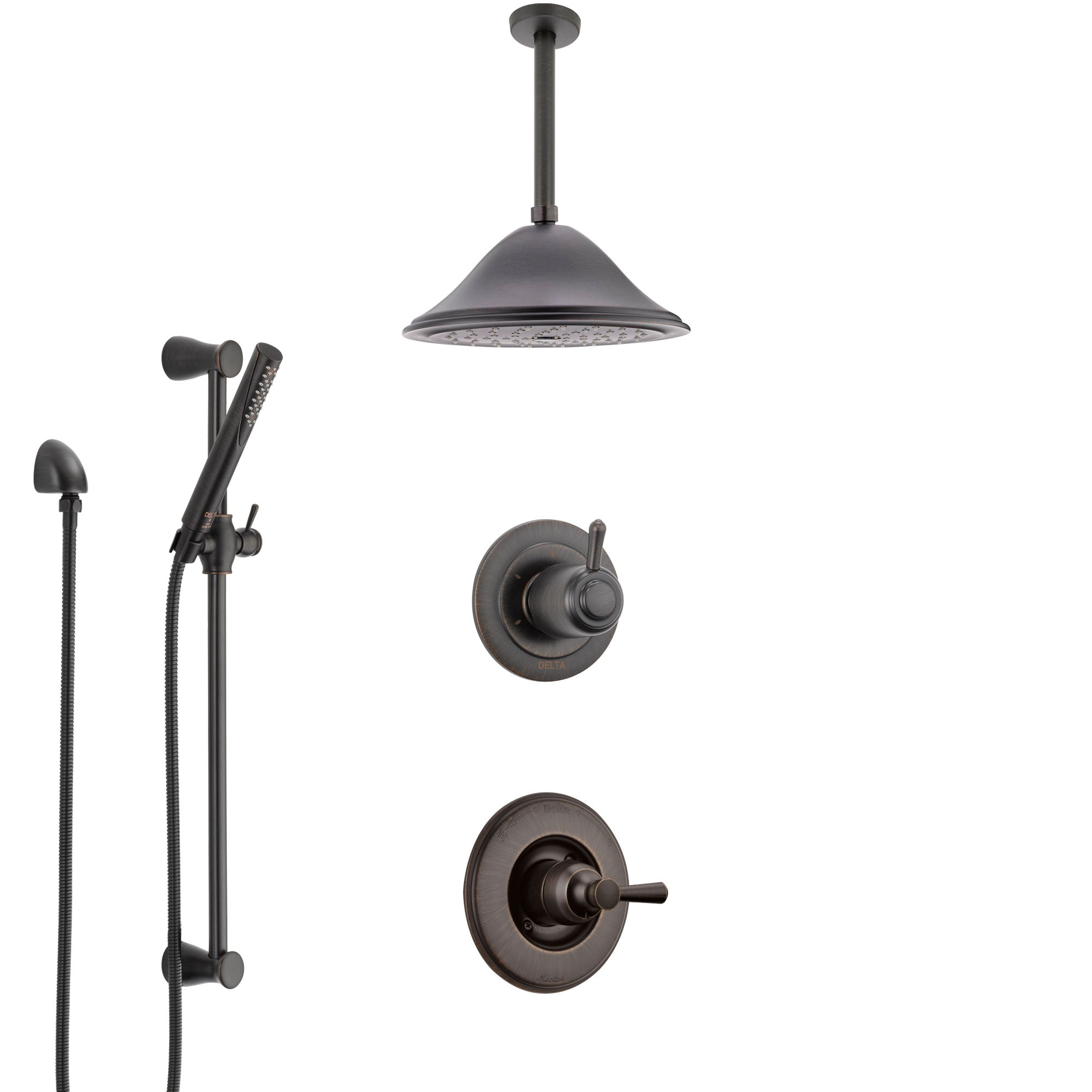 Delta Linden Venetian Bronze Shower System with Control Handle, 3-Setting Diverter, Ceiling Mount Showerhead, and Hand Shower with Slidebar SS1493RB7