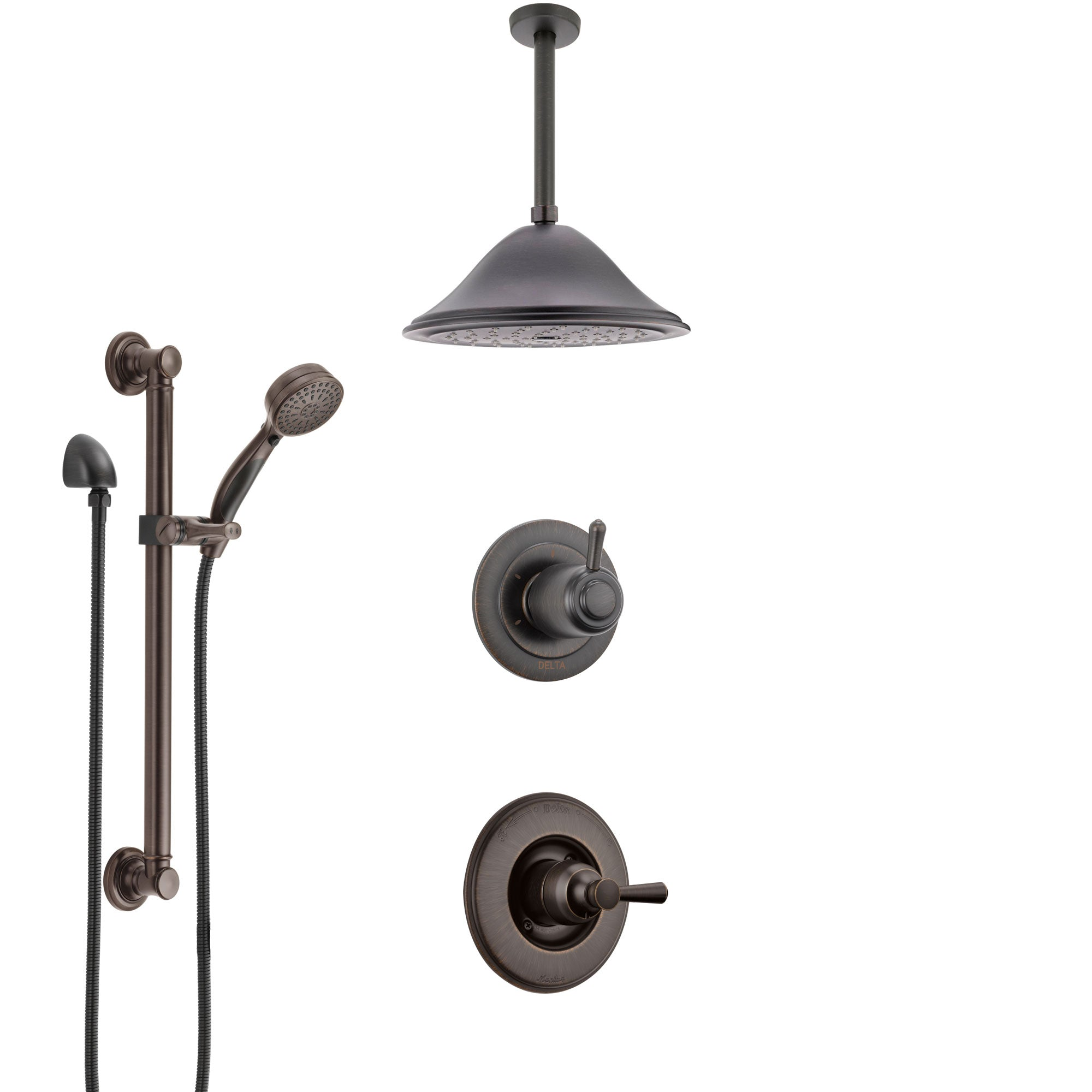 Delta Linden Venetian Bronze Shower System with Control Handle, 3-Setting Diverter, Ceiling Mount Showerhead, and Hand Shower with Grab Bar SS1493RB8