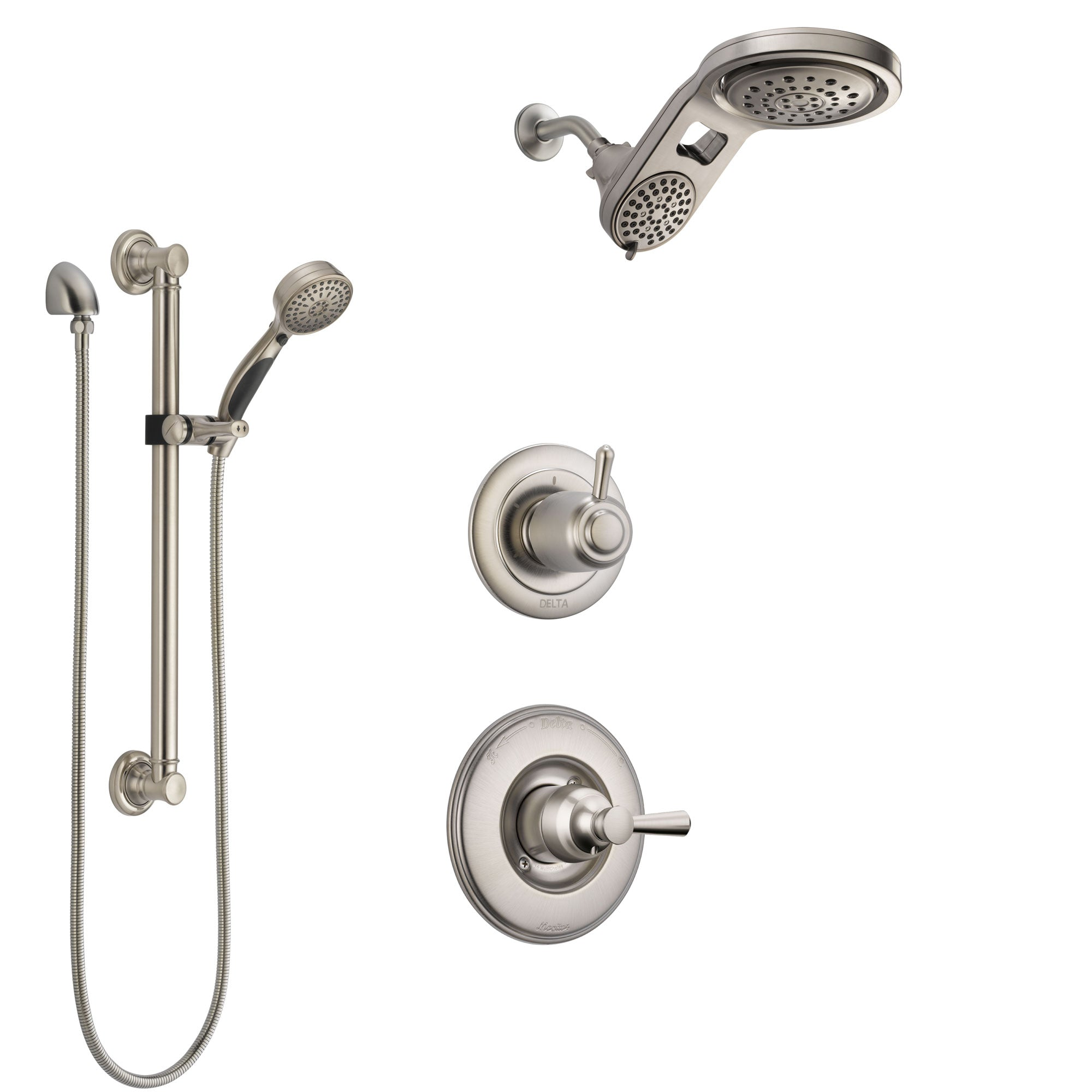 Delta Linden Stainless Steel Finish Shower System with Control Handle, 3-Setting Diverter, Dual Showerhead, and Hand Shower with Grab Bar SS1493SS5
