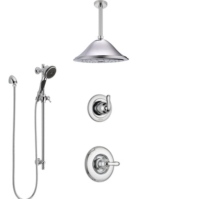 Delta Linden Chrome Finish Shower System with Control Handle, 3-Setting Diverter, Ceiling Mount Showerhead, and Hand Shower with Slidebar SS14941