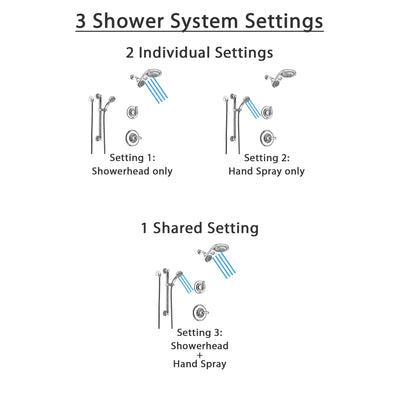 Delta Linden Chrome Finish Shower System with Control Handle, 3-Setting Diverter, Dual Showerhead, and Hand Shower with Grab Bar SS14943