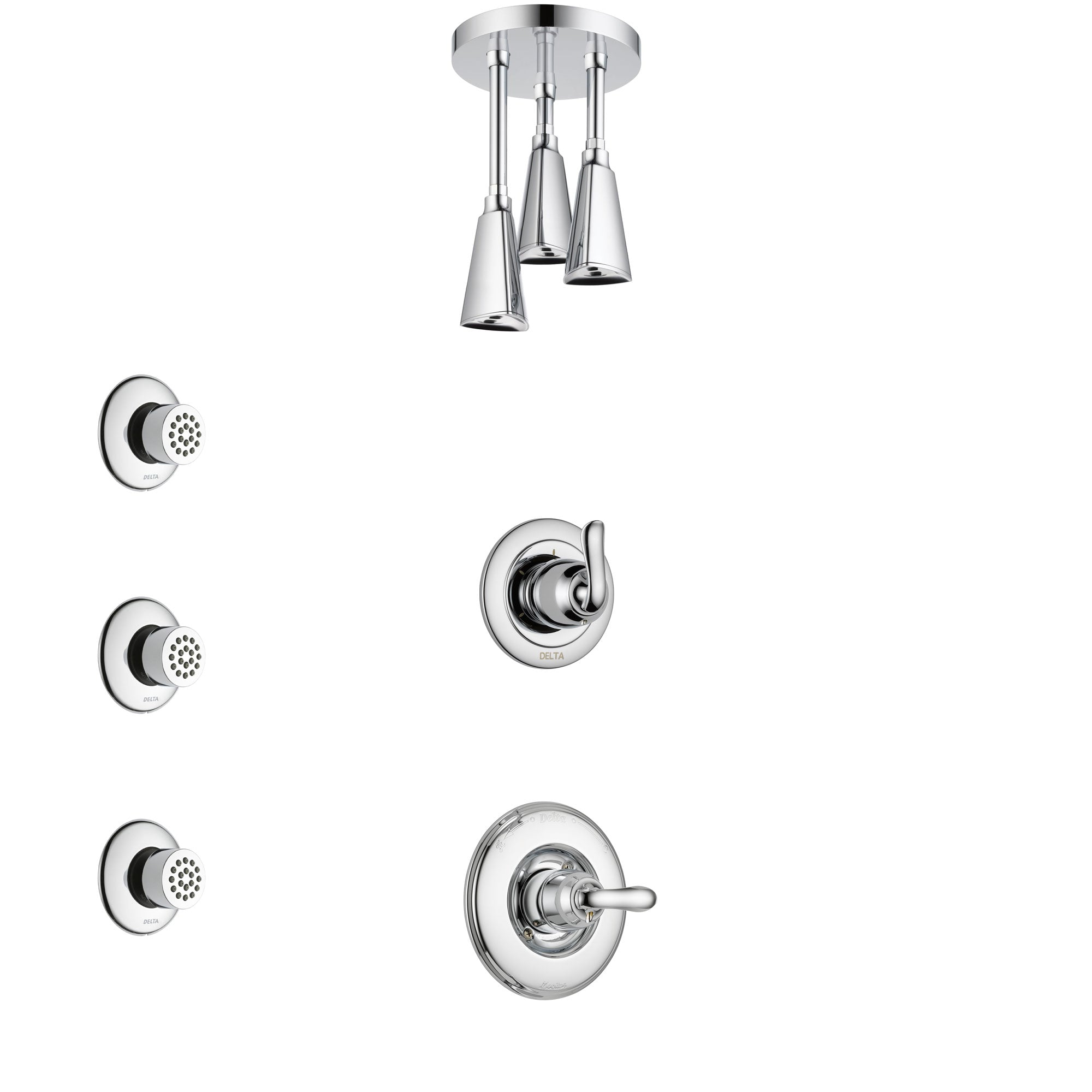 Delta Linden Chrome Finish Shower System with Control Handle, 3-Setting Diverter, Ceiling Mount Showerhead, and 3 Body Sprays SS14946