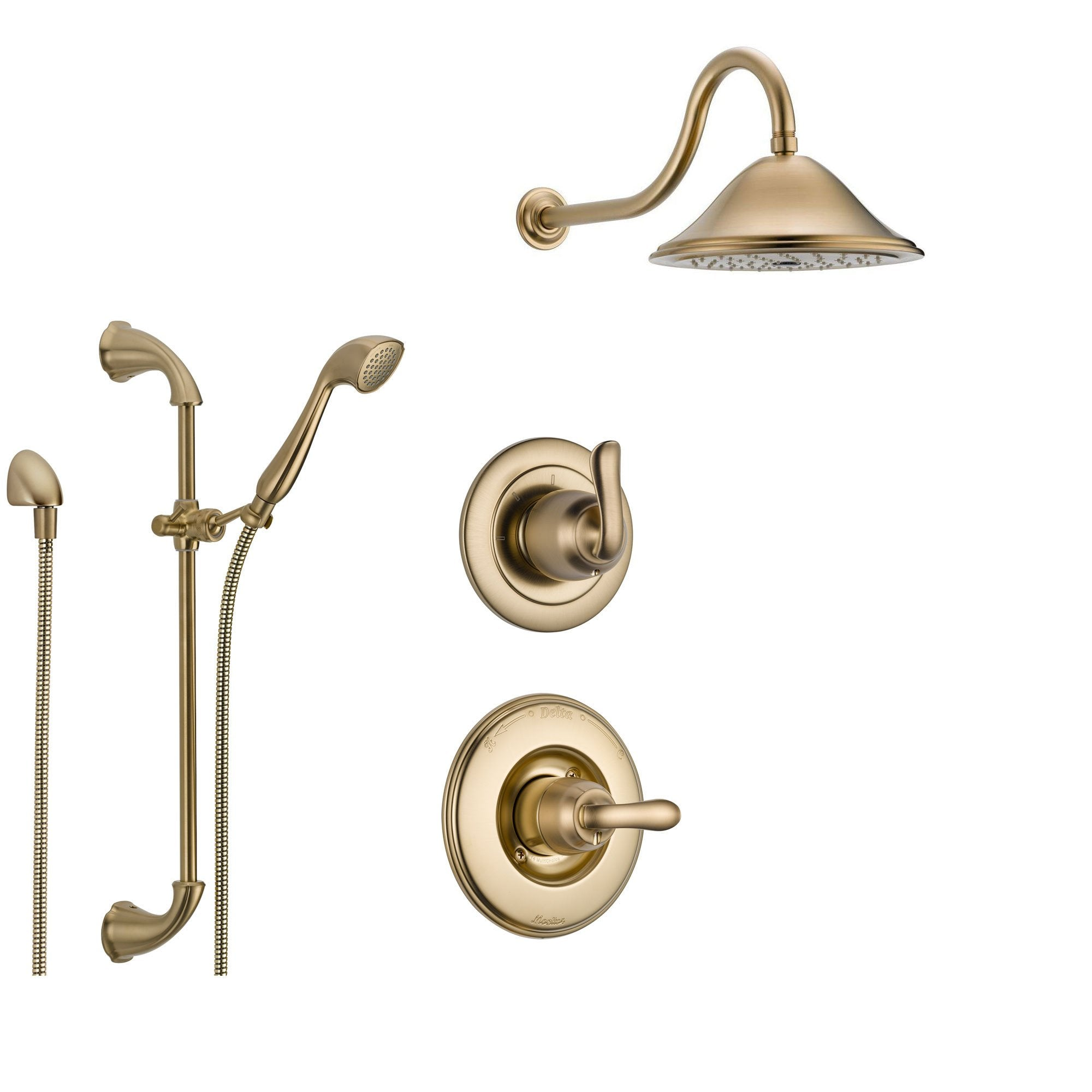 delta linden champagne bronze shower system with normal shower handle 3setting diverter