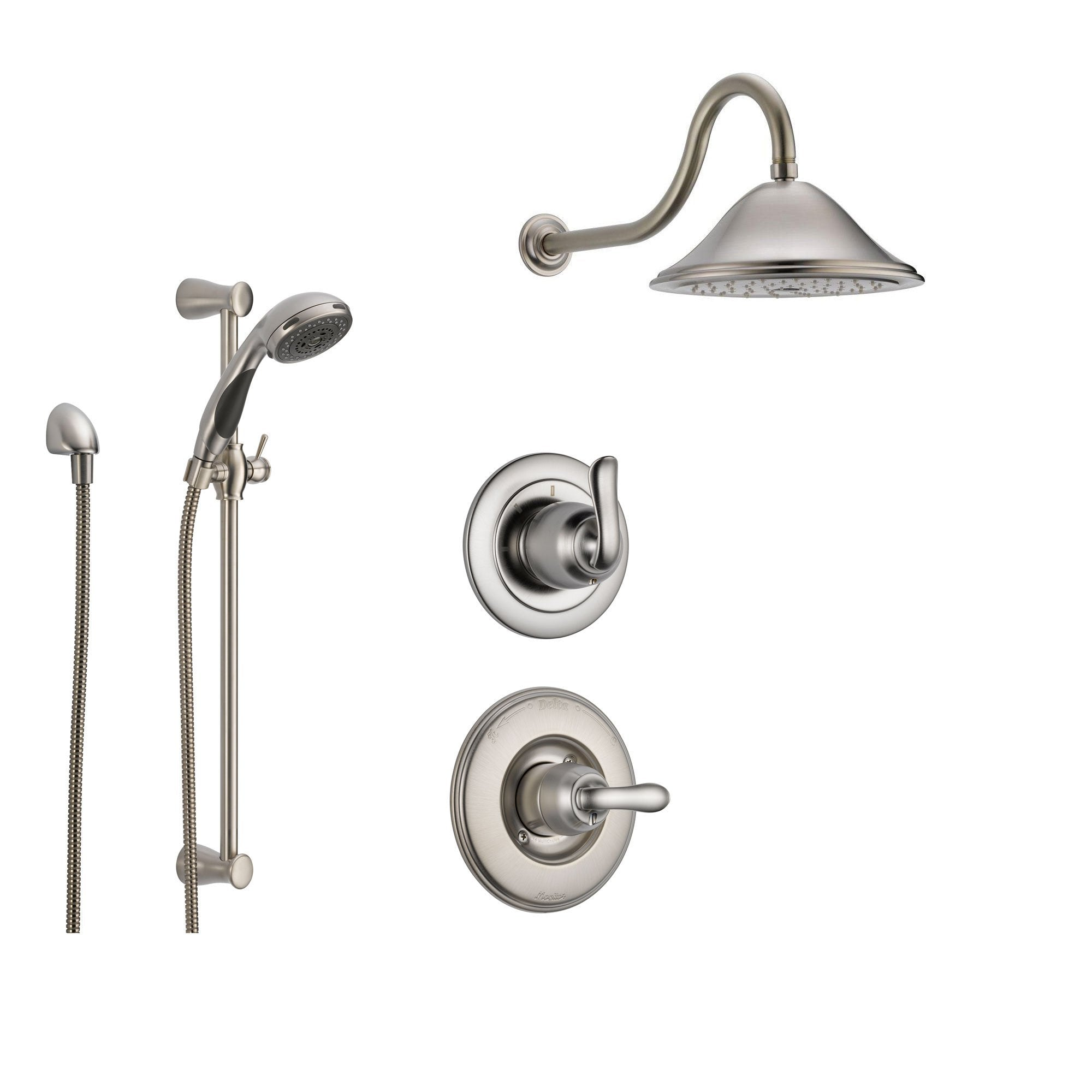 Delta Linden Stainless Steel Shower System with Normal Shower Handle, 3-setting Diverter, Large Rain Showerhead, and Handheld Shower SS149481SS