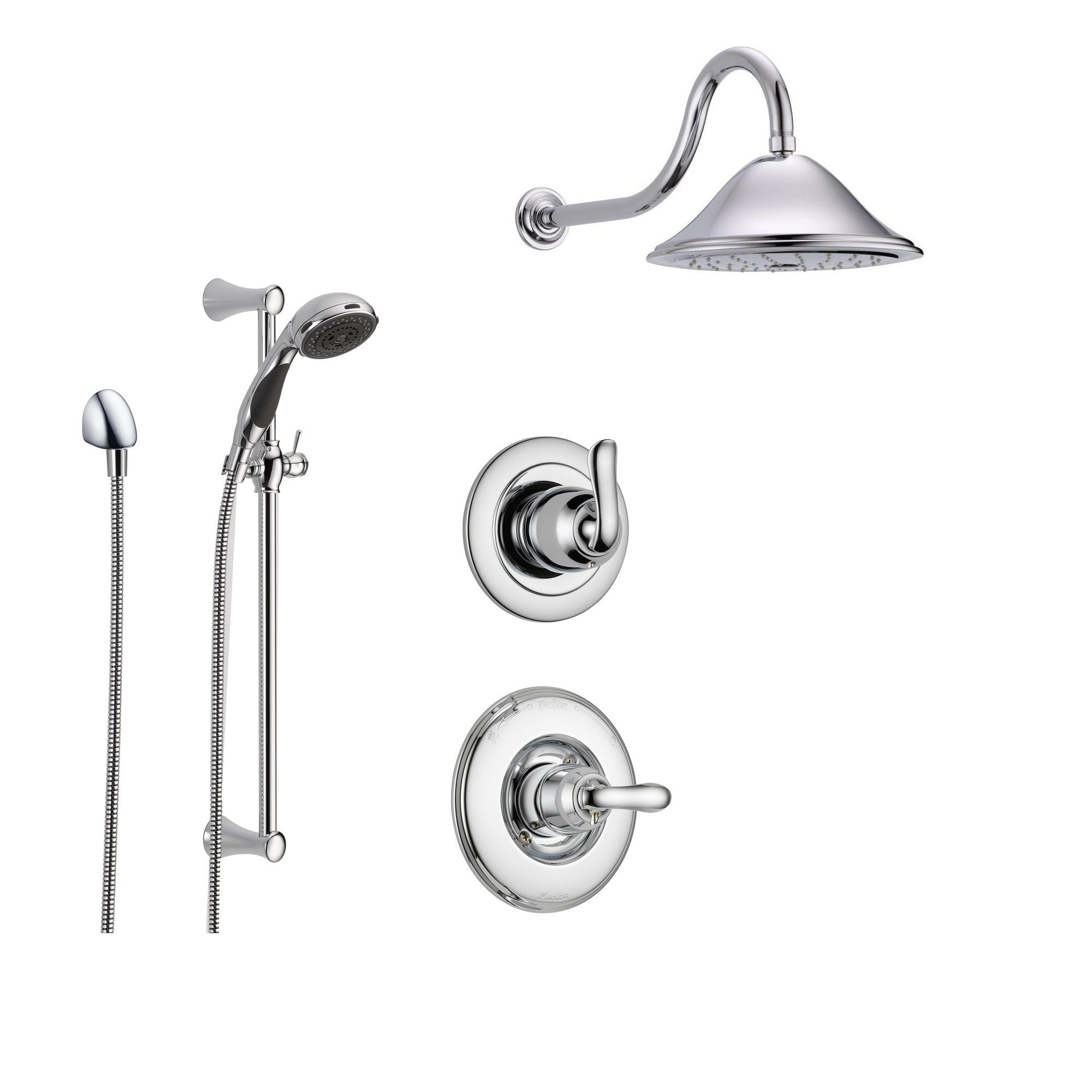 Delta Linden Chrome Shower System with Normal Shower Handle, 3-setting Diverter, Large Rain Showerhead, and Handheld Shower SS149481