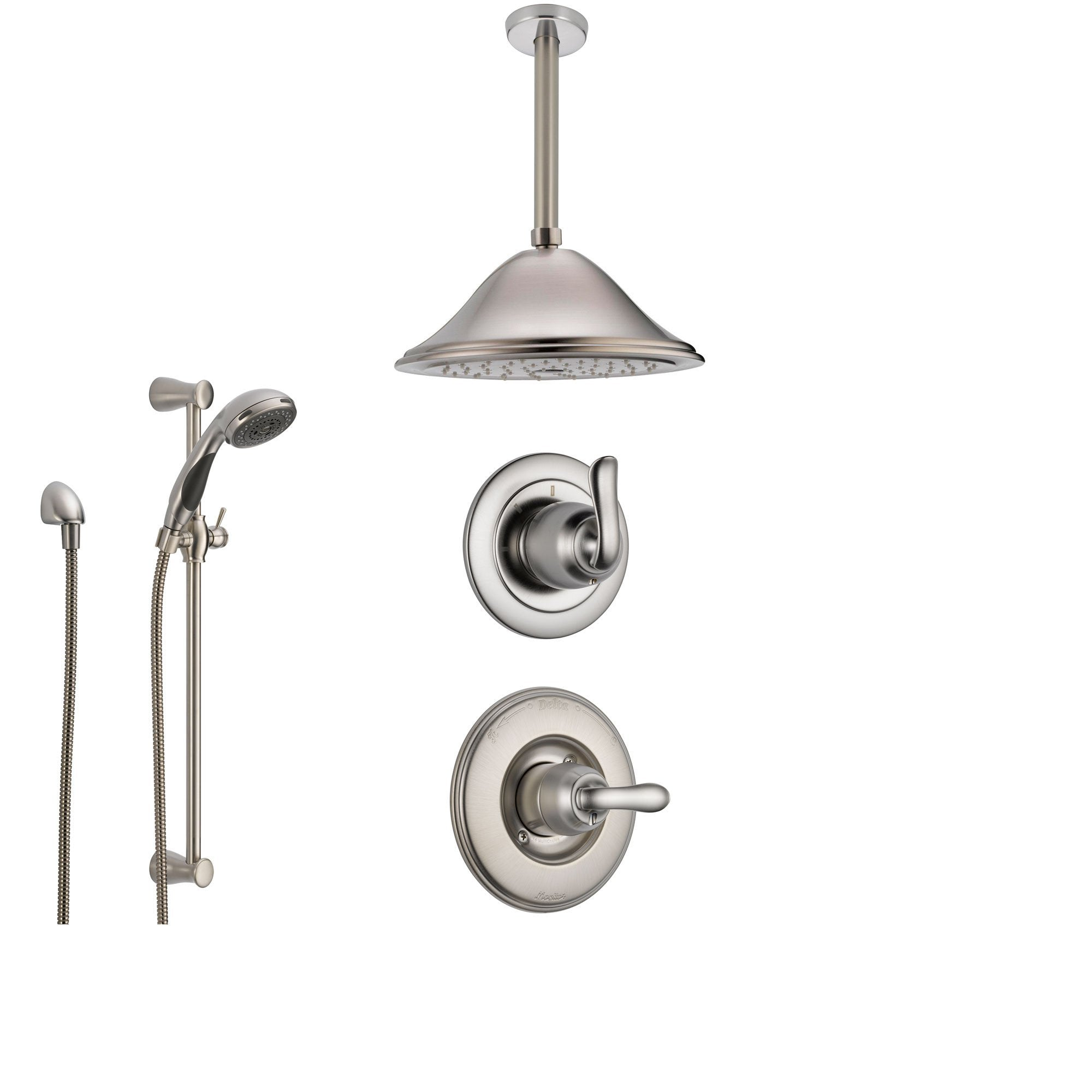 Delta Linden Stainless Steel Shower System With Normal Shower Handle 3 Setting Diverter Large Ceiling Mount Rain Shower Head And Handheld Shower