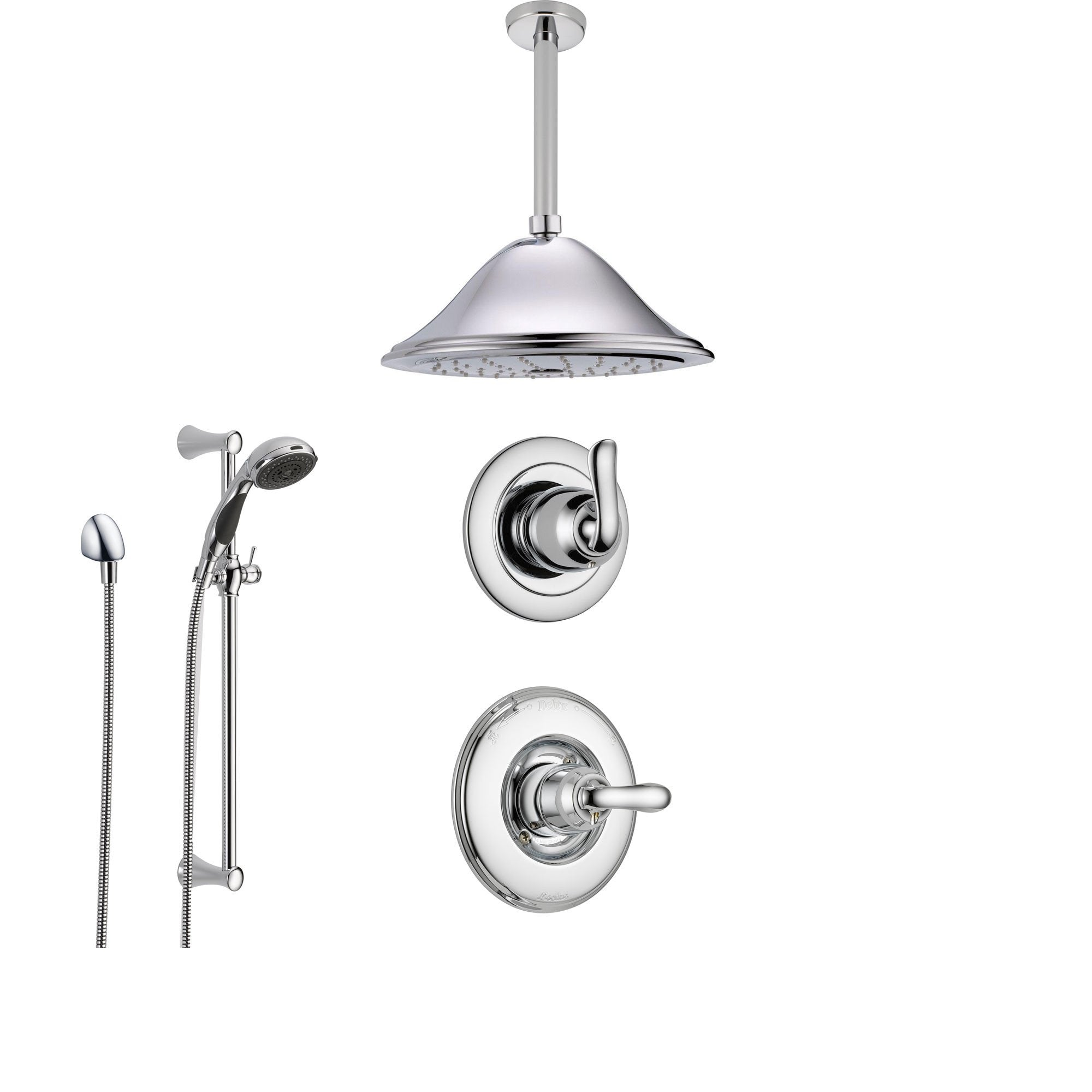 Delta Linden Chrome Shower System with Normal Shower Handle, 3-setting Diverter, Large Ceiling Mount Rain Showerhead, and Handheld Shower SS149482