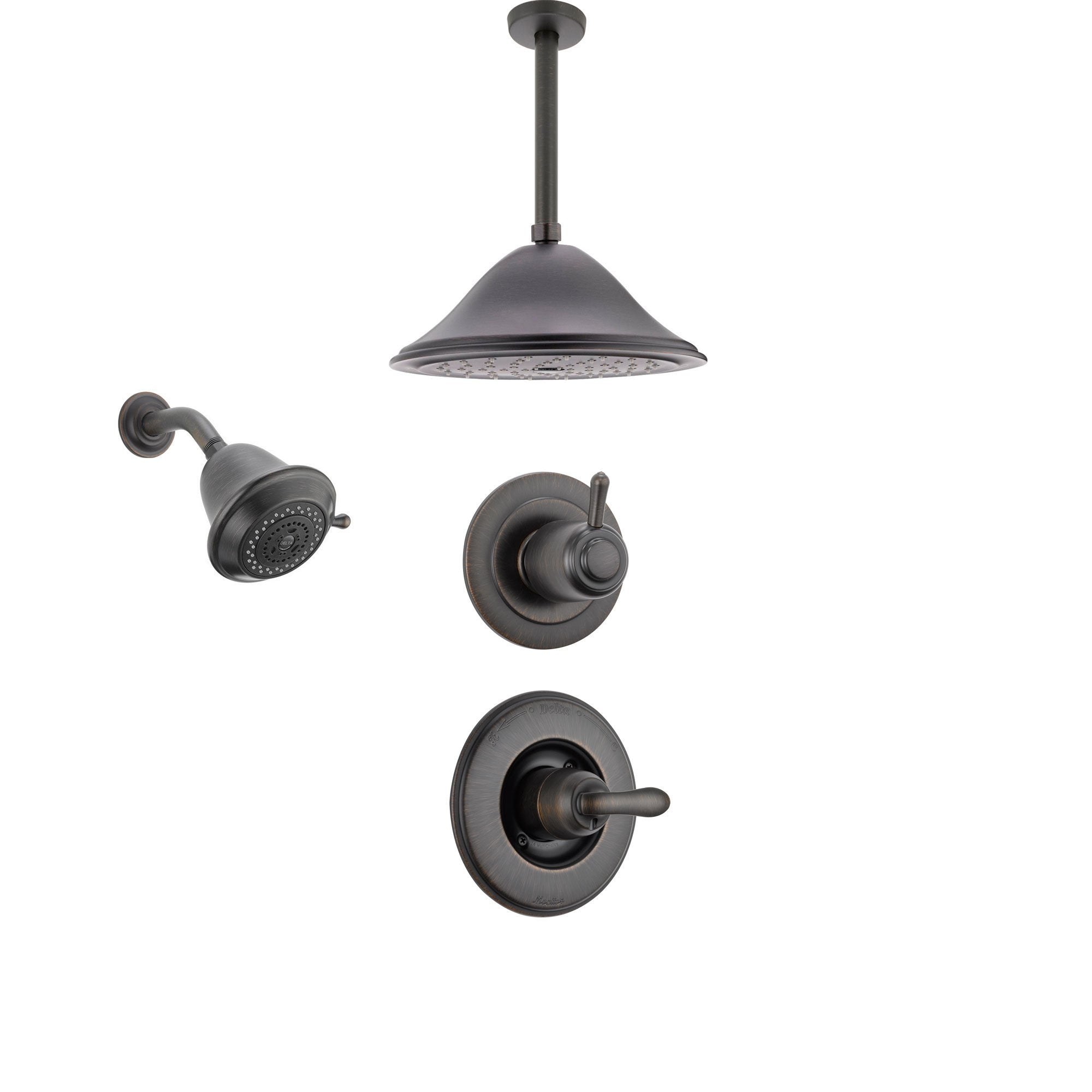 Delta Linden Venetian Bronze Shower System with Normal Shower Handle, 3-setting Diverter, Large Ceiling Mount Rain Showerhead, and Smaller Wall Mount Shower Head SS149485RB