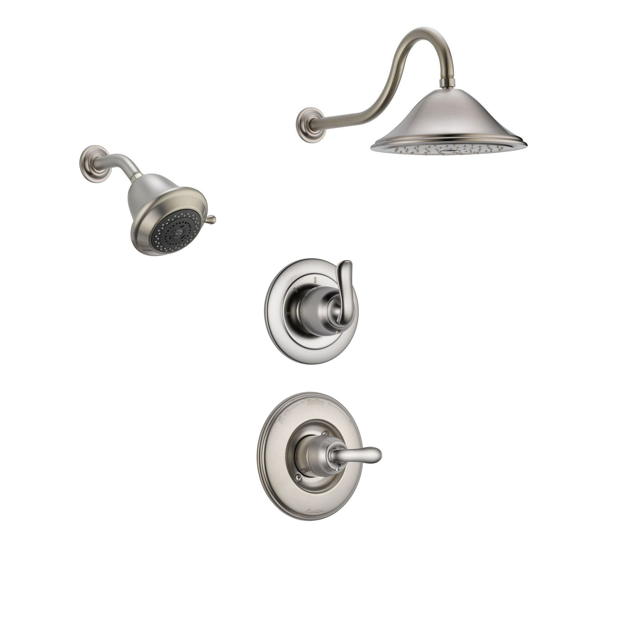 Delta Linden Stainless Steel Shower System with Normal Shower Handle, 3-setting Diverter, Large Rain Showerhead, and Smaller Wall Mount Showerhead SS149485SS