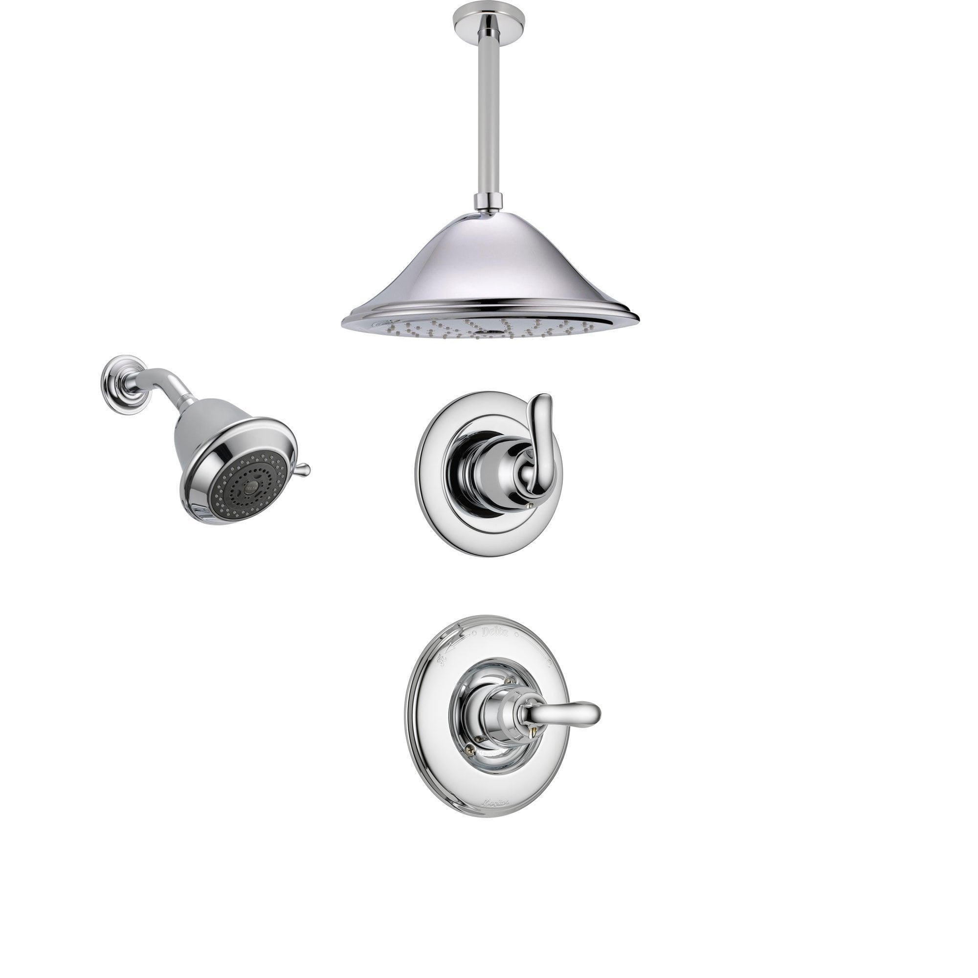 Delta Linden Chrome Shower System with Normal Shower Handle, 3-setting Diverter, Large Ceiling Mount Rain Showerhead, and Wall Mount Showerhead SS149485