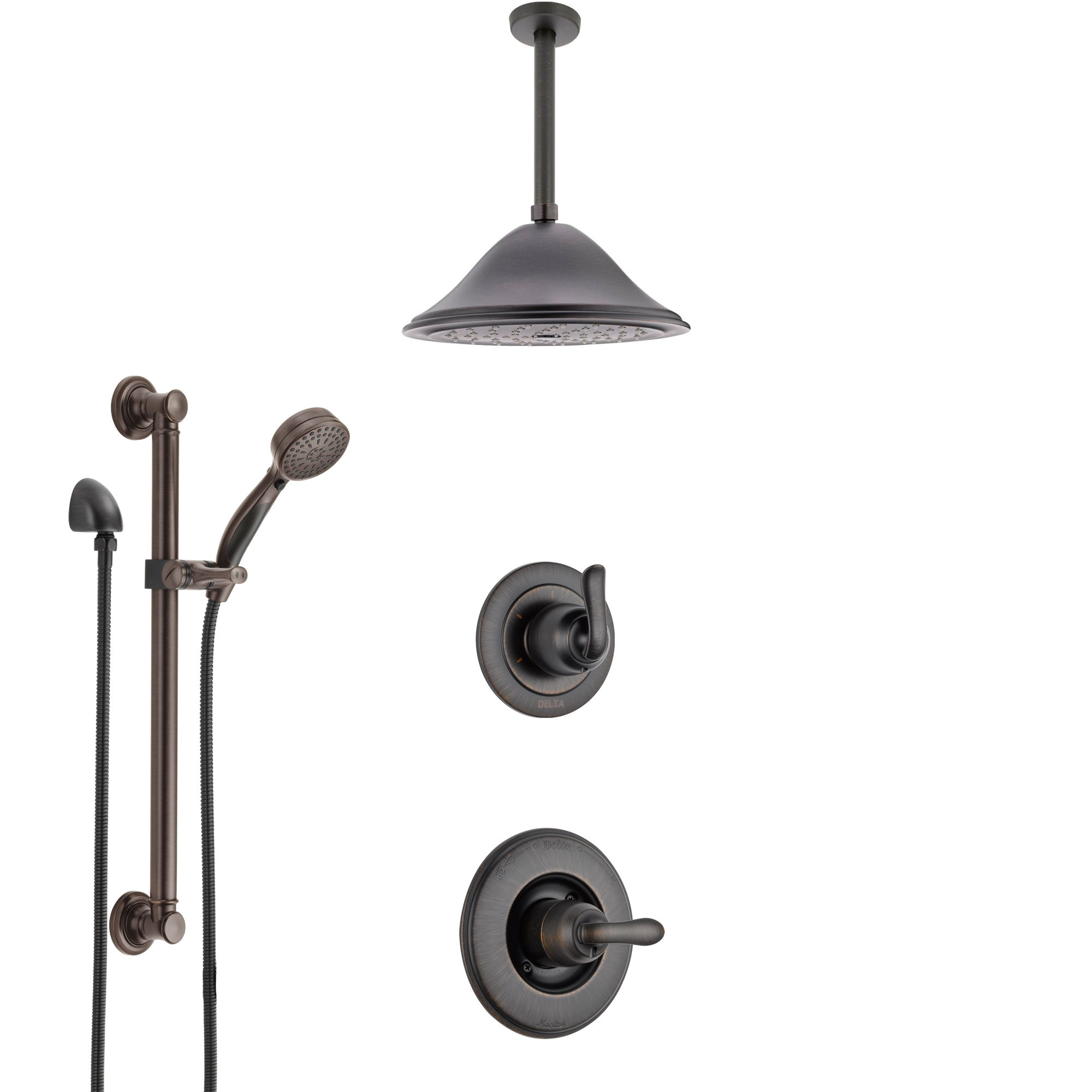 Delta Linden Venetian Bronze Shower System with Control Handle, 3-Setting Diverter, Ceiling Mount Showerhead, and Hand Shower with Grab Bar SS1494RB4
