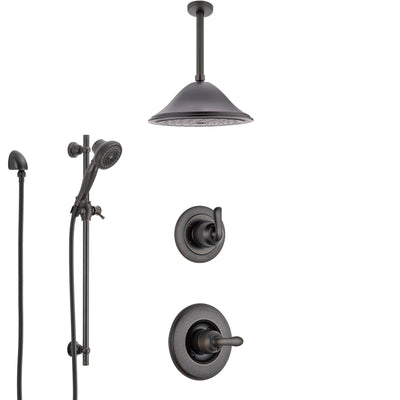 Delta Linden Venetian Bronze Shower System with Control Handle, 3-Setting Diverter, Ceiling Mount Showerhead, and Hand Shower with Slidebar SS1494RB5