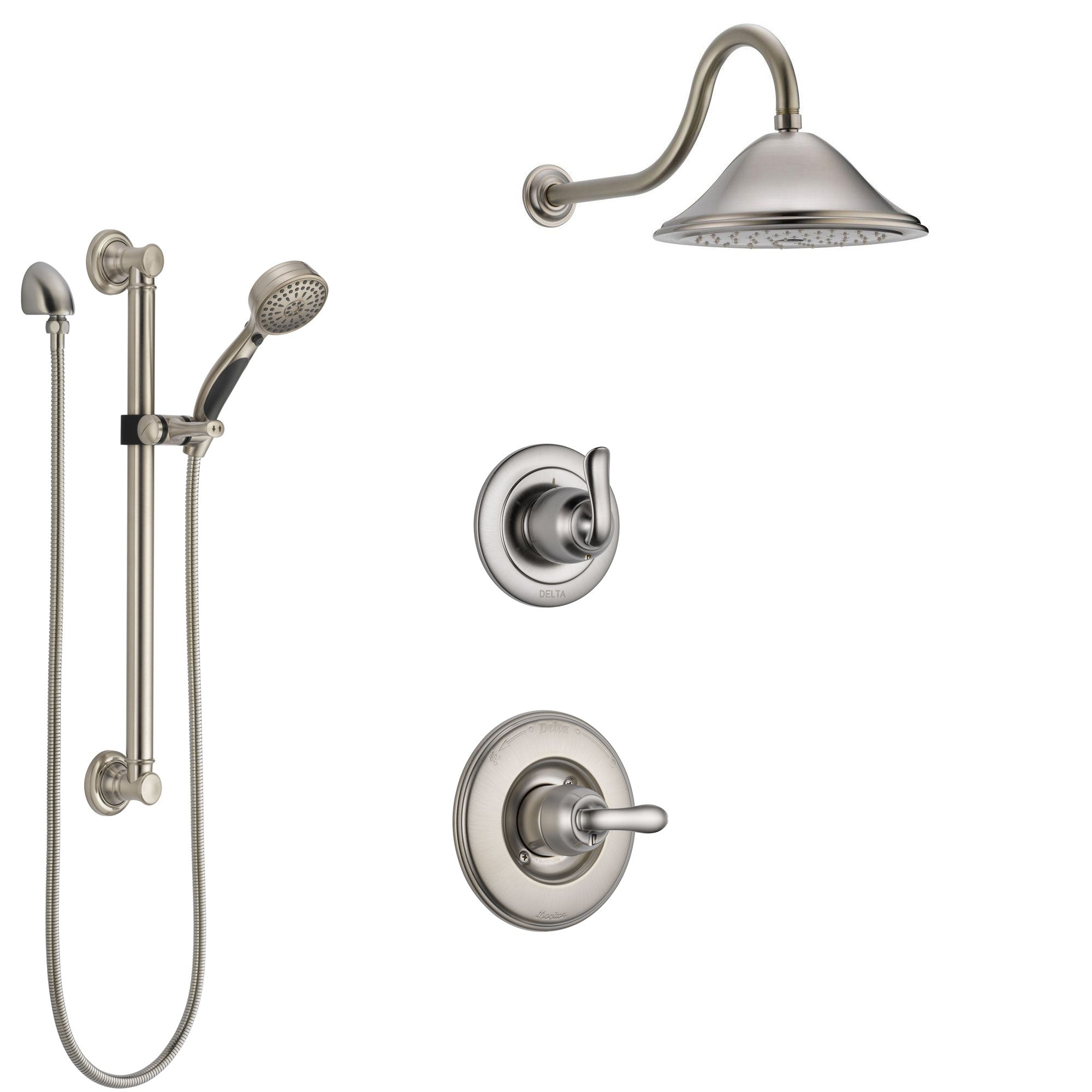 Delta Linden Stainless Steel Finish Shower System with Control Handle, 3-Setting Diverter, Showerhead, and Hand Shower with Grab Bar SS1494SS2