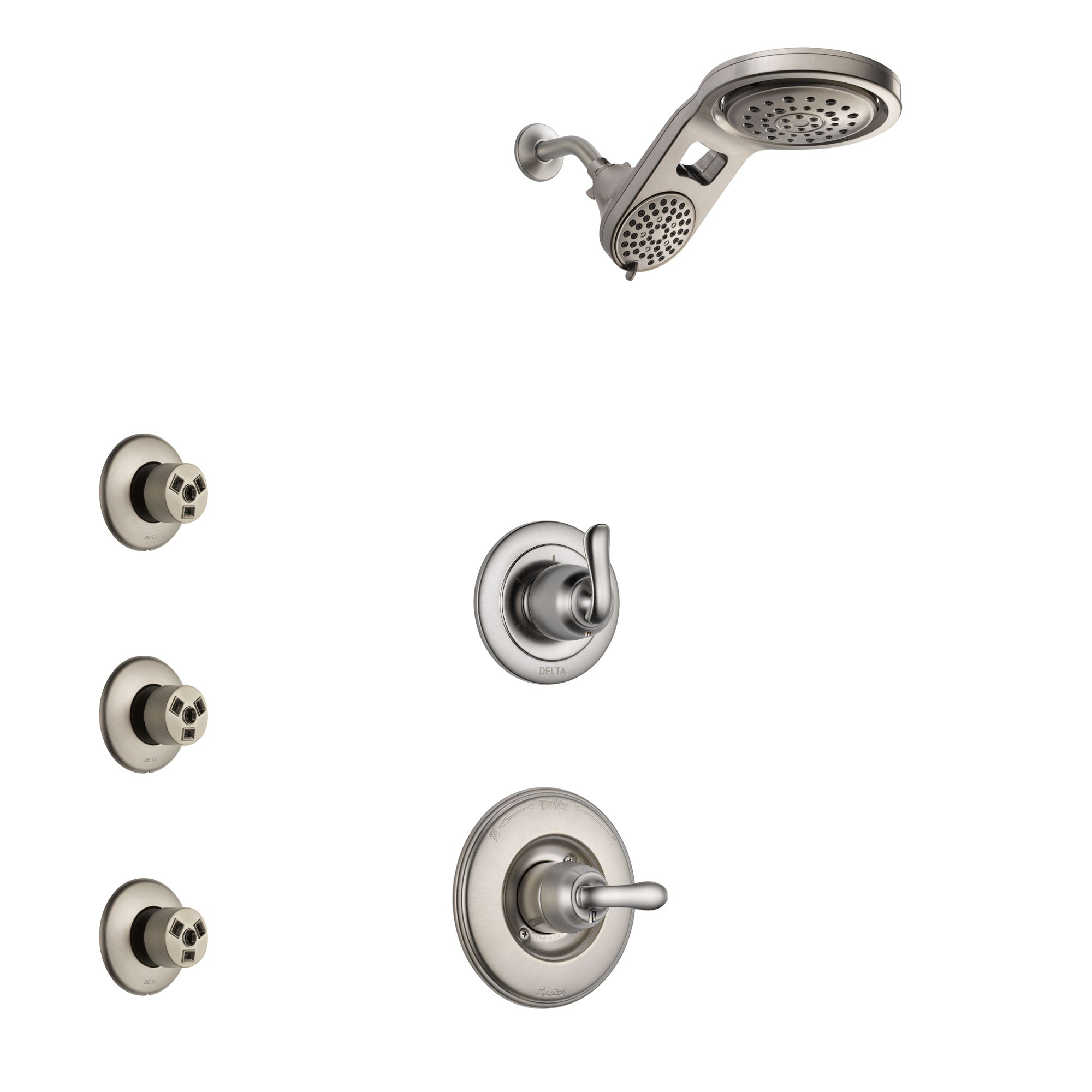 Delta Linden Stainless Steel Finish Shower System with Control Handle, 3-Setting Diverter, Dual Showerhead, and 3 Body Sprays SS1494SS6