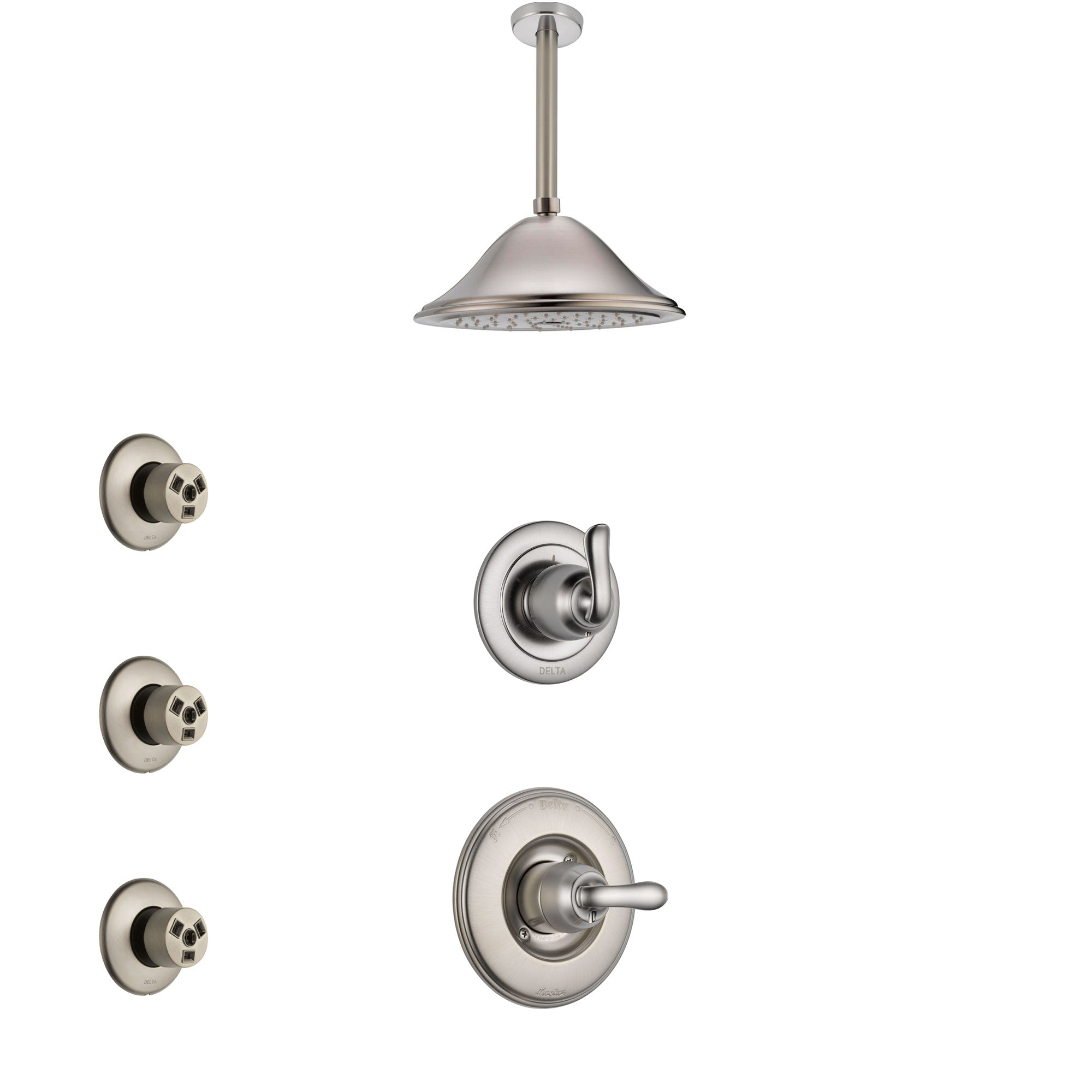 Delta Linden Stainless Steel Finish Shower System with Control Handle, 3-Setting Diverter, Ceiling Mount Showerhead, and 3 Body Sprays SS1494SS7