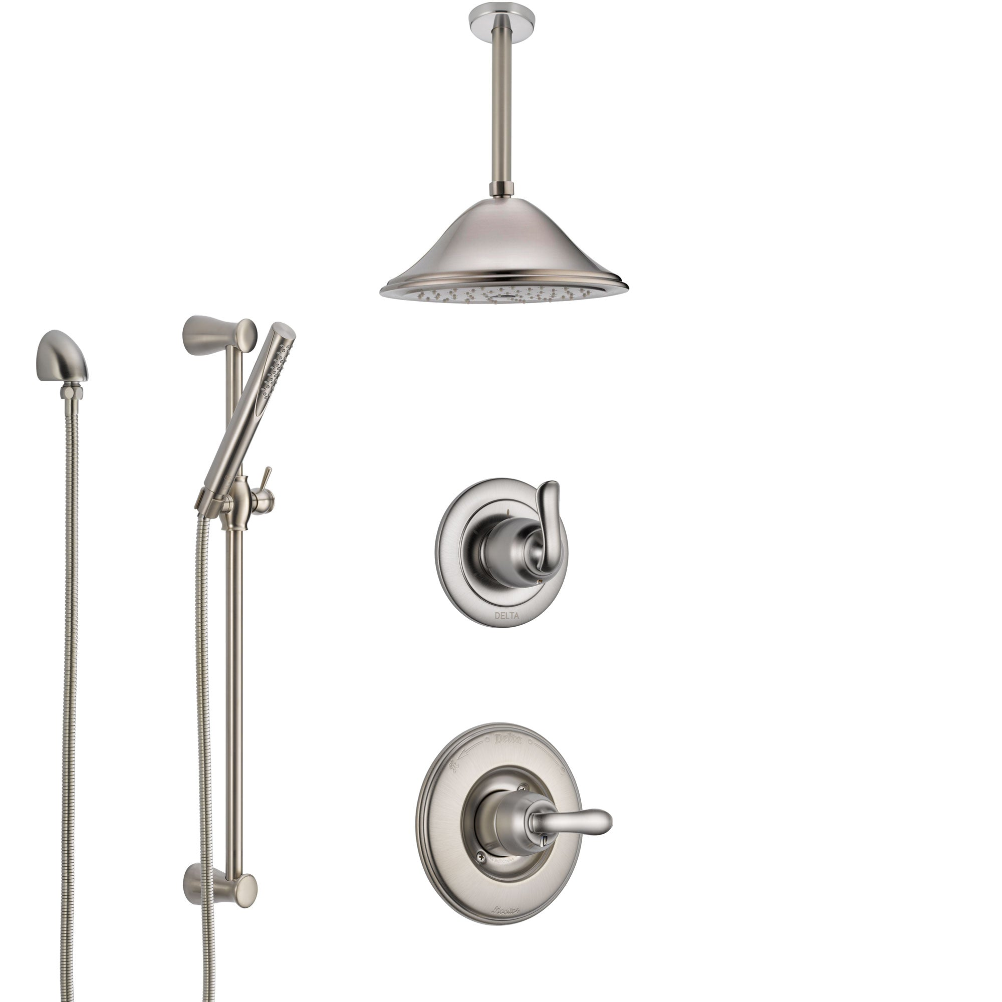 Delta Linden Stainless Steel Finish Shower System with Control Handle, Diverter, Ceiling Mount Showerhead, and Hand Shower with Slidebar SS1494SS8