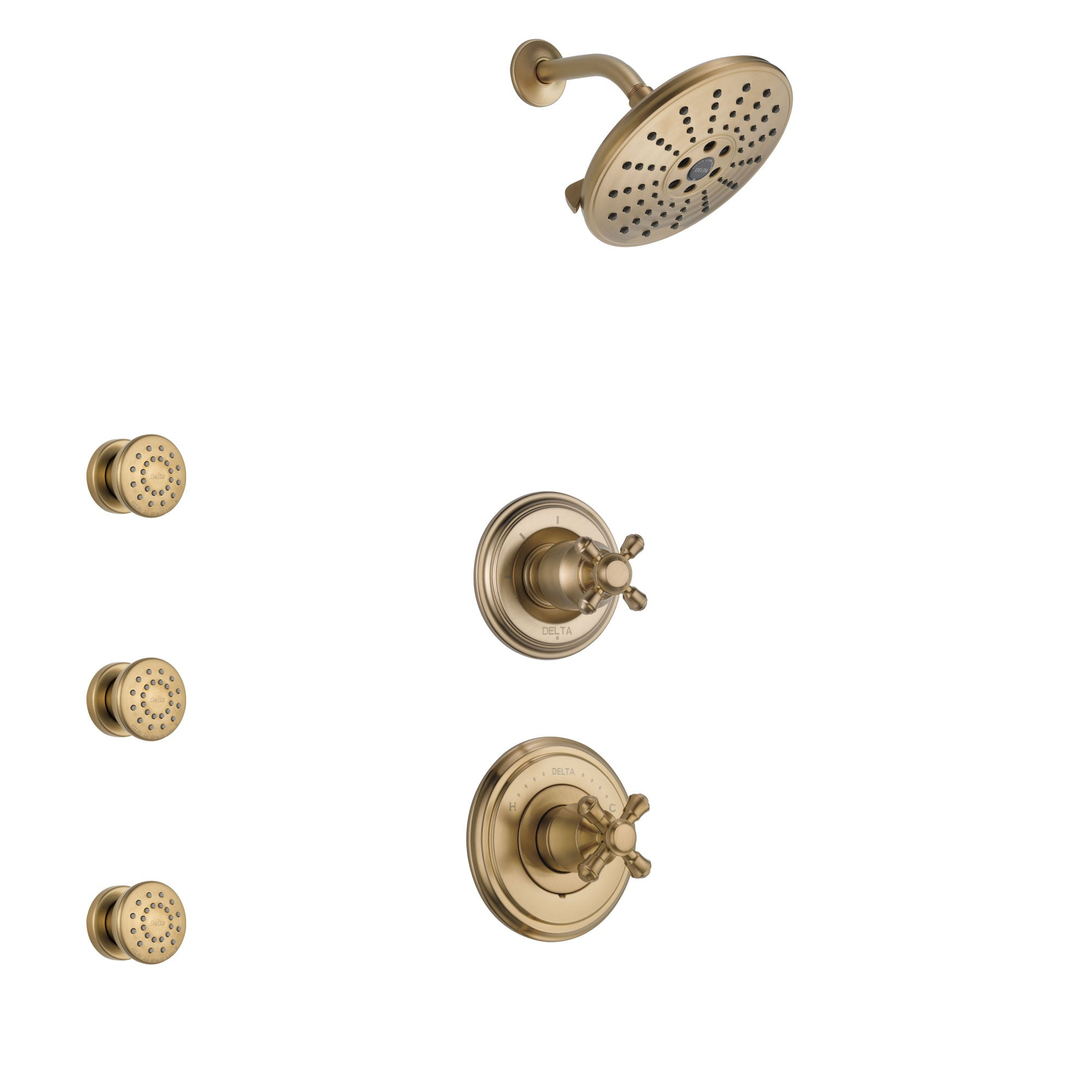 Delta Cassidy Champagne Bronze Finish Shower System with Control Handle, 3-Setting Diverter, Showerhead, and 3 Body Sprays SS14971CZ6