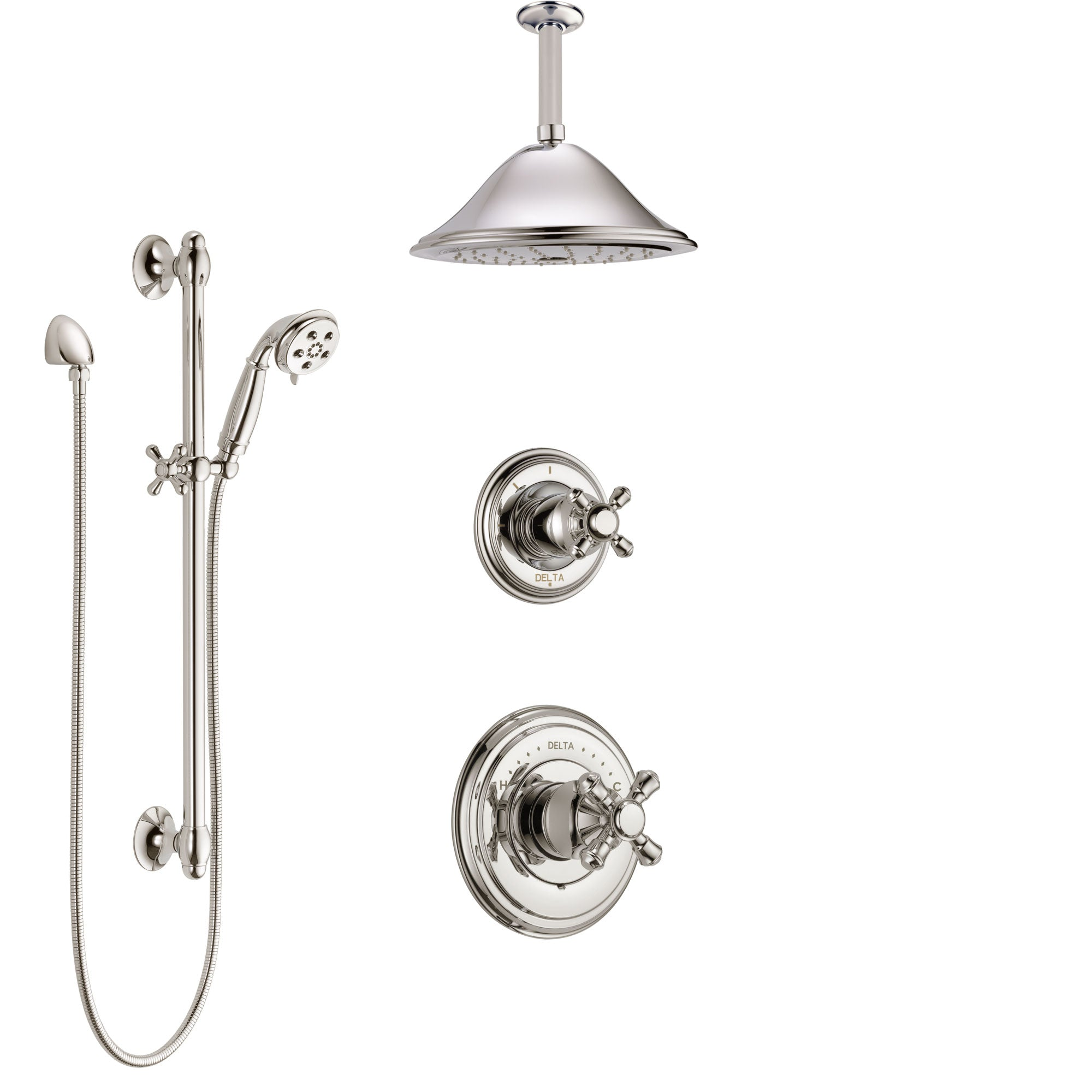 Delta Cassidy Polished Nickel Shower System with Control Handle, Diverter, Ceiling Mount Showerhead, and Hand Shower with Slidebar SS14971PN3